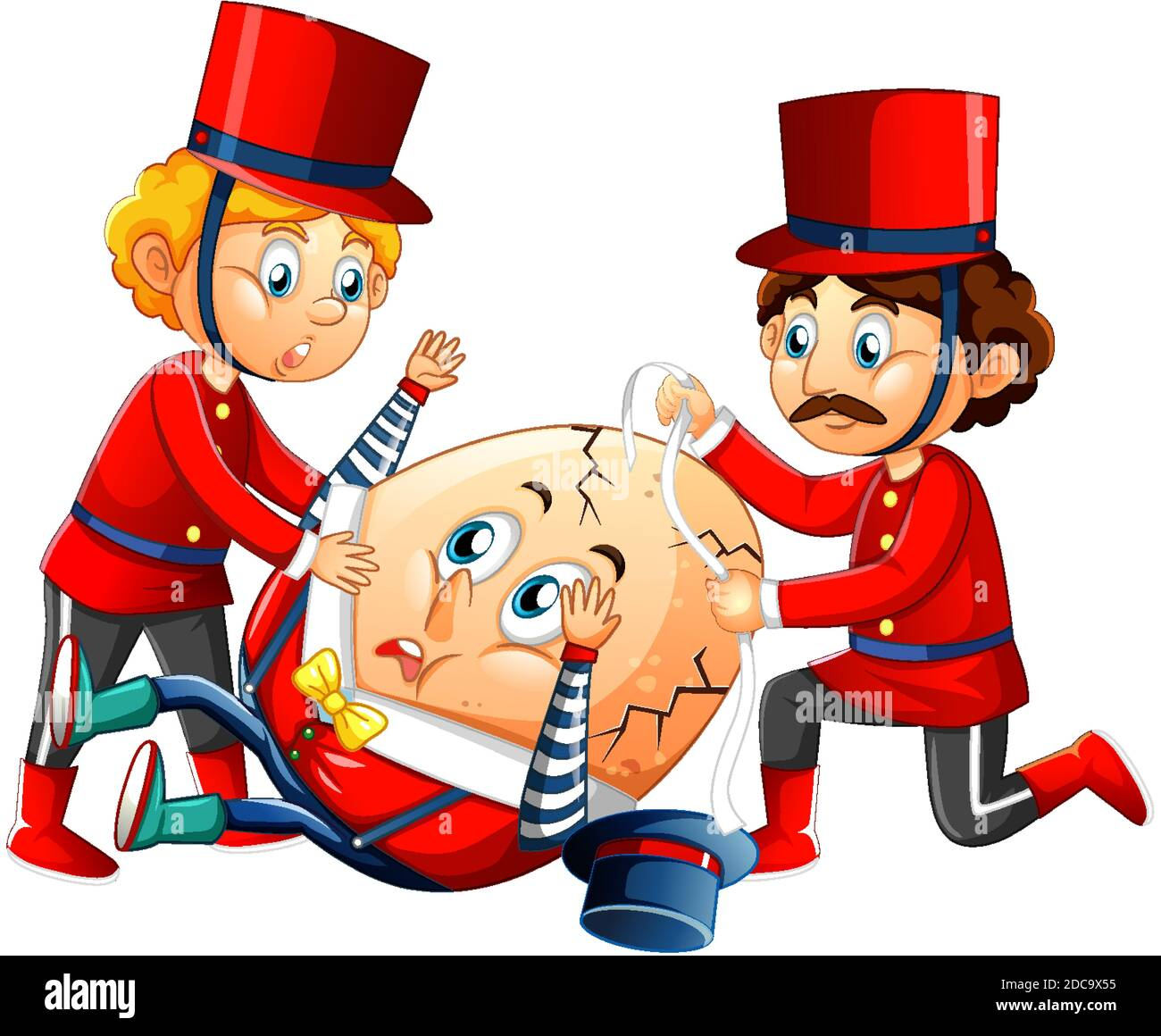 Humpty dumpty egg with king's men on white background illustration Stock Vector