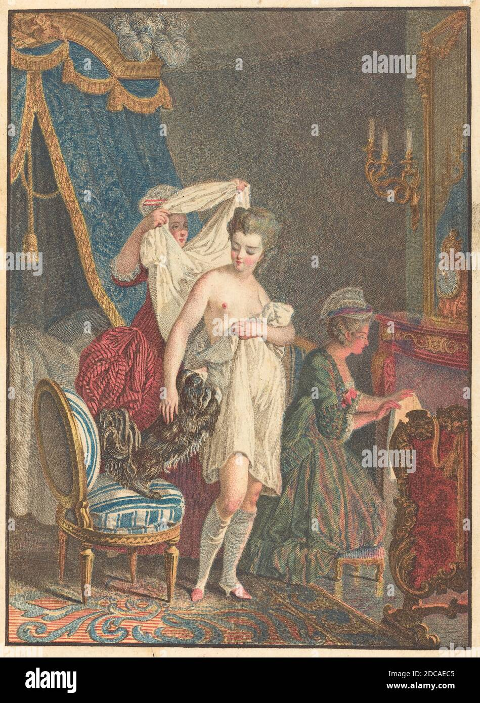 Nicolas François Regnault, (artist), French, 1746 - 1810, Le Lever, color stipple etching and etching Stock Photo