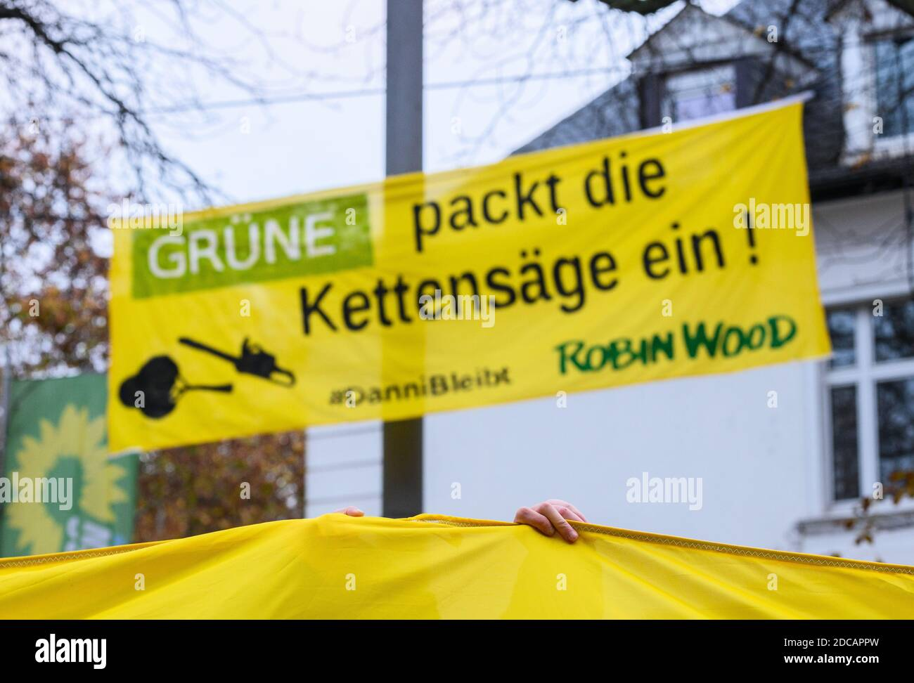 """Wiesbaden, Germany. 20th Nov, 2020. An activist stands in front of a demo banner """"Green packs the chainsaw! #Danni stays Robin Wood"""". Activists of Robin Wood, environmental and nature conservation organisation, have occupied two trees in front of the party headquarters of the Hessian Greens in the state capital. The organisation is protesting against the clearings in connection with the expansion of the A49 and wants to remind the Greens in Hesse of their political responsibility. Credit: Andreas Arnold/dpa/Alamy Live News Stock Photo"""