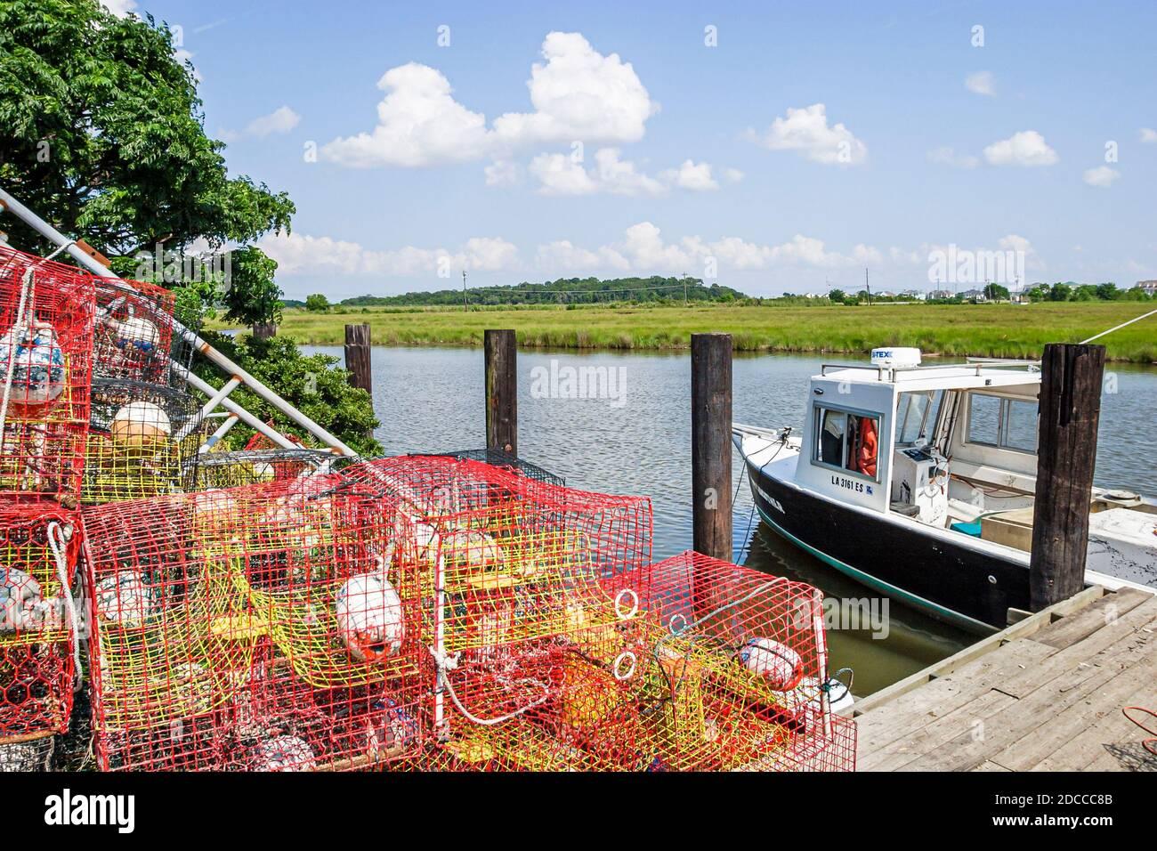Louisiana St. Tammany Parish Northshore, Slidell Salt Bayou crab traps commercial crabbing boat, Stock Photo