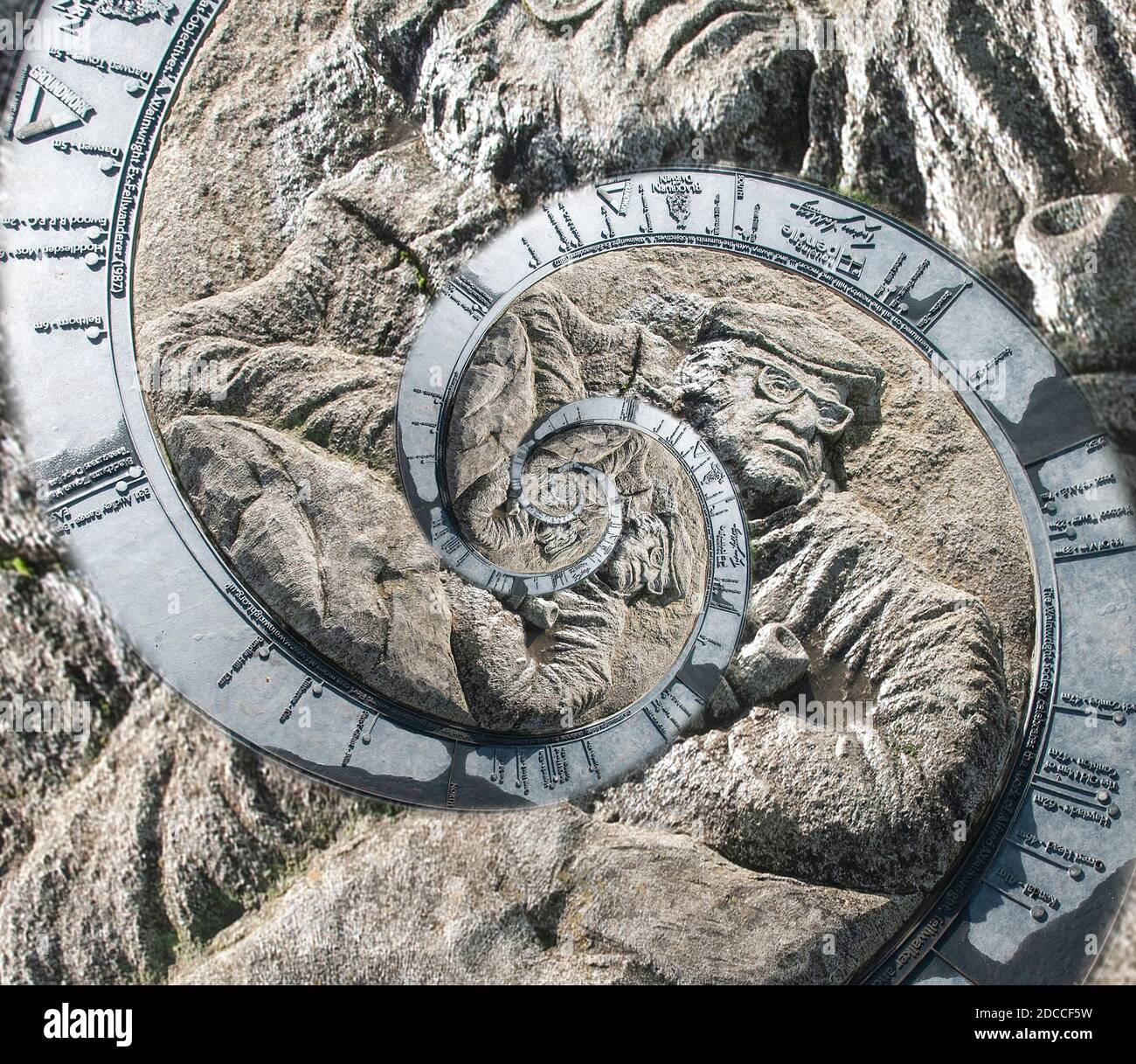 Around the UK - images with a twist. Abstract spherical distorted images. Alfred Wainwright Memorial, distorted into a spiral. Stock Photo