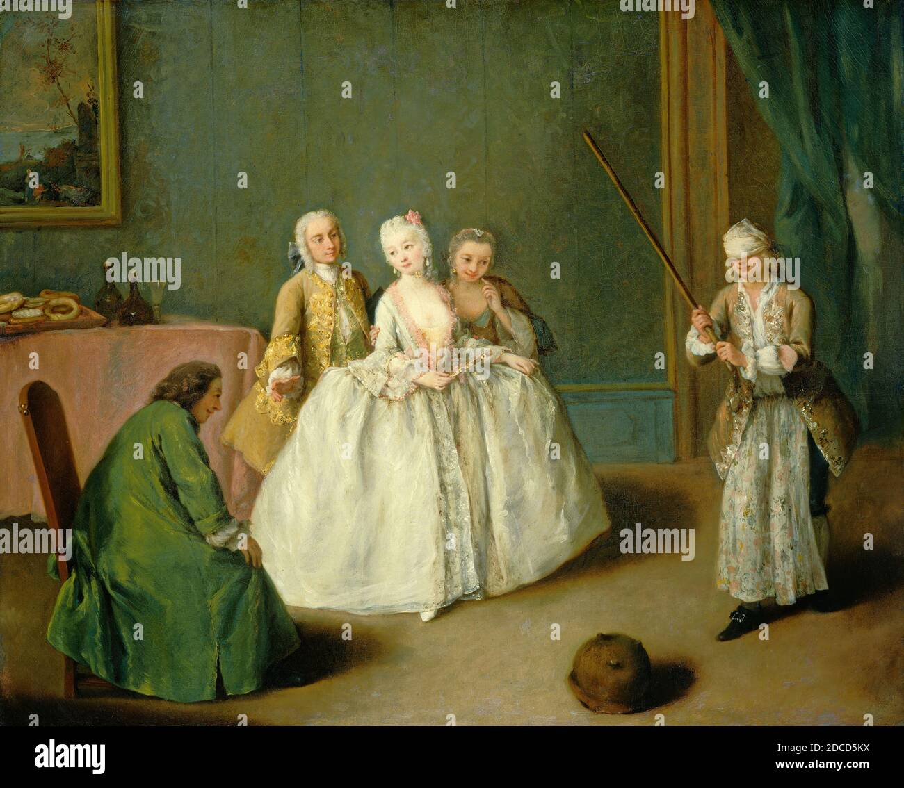 Pietro Longhi, (artist), Venetian, 1702 - 1785, The Game of the Cooking Pot, c. 1744, oil on canvas, overall: 49.9 x 61.7 cm (19 5/8 x 24 5/16 in.), framed: 65.4 x 55.9 x 3.8 cm (25 3/4 x 22 x 1 1/2 in Stock Photo