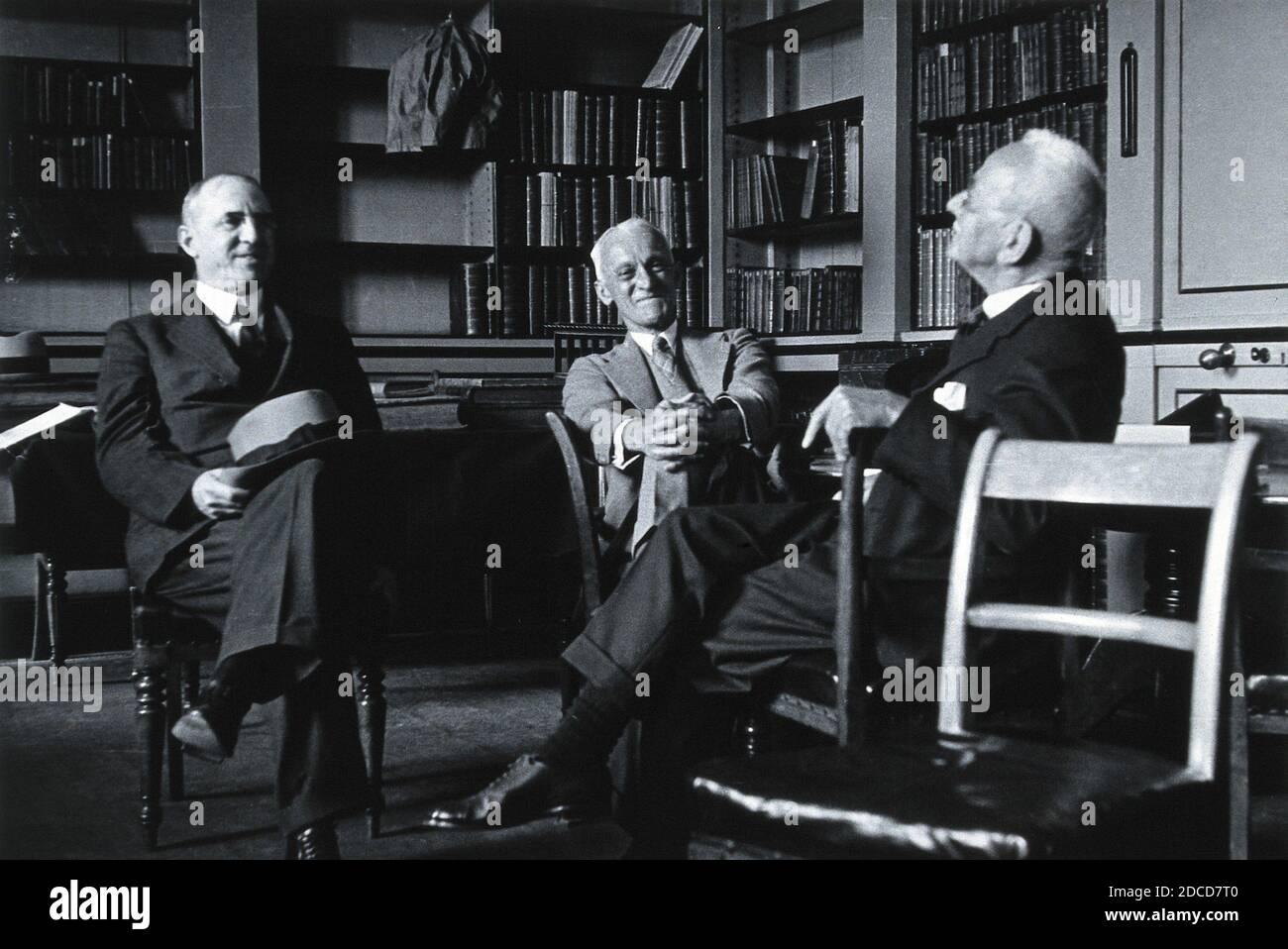 Lynn Thorndike, Harvey Cushing and Charles Scott Sherrington Stock Photo