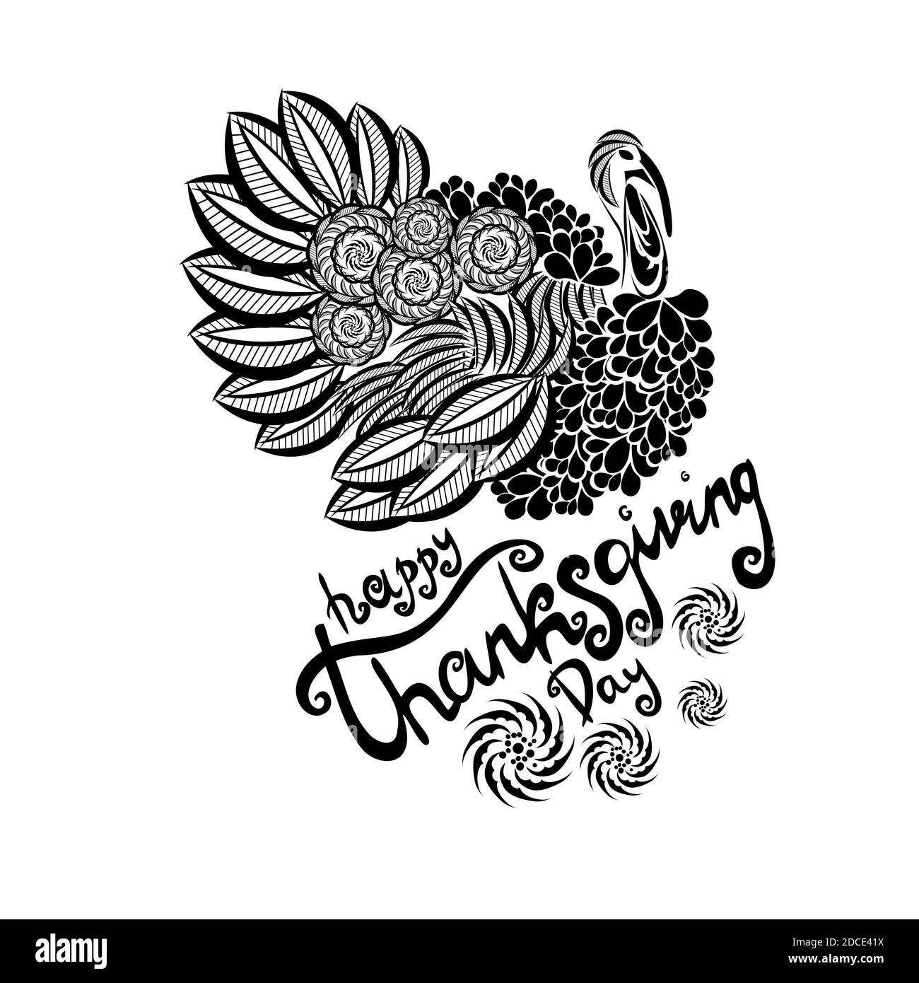 stylized turkey. Happy Thanksgiving. Vector Stock Vector