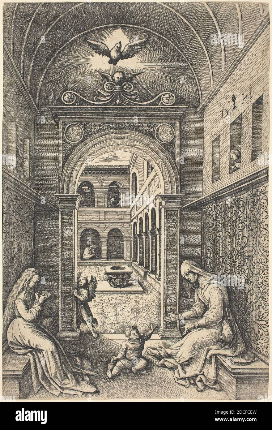 Daniel Hopfer, (artist), German, c. 1470 - 1536, The Virgin and Child with Saint Anne by a Portal, etching (iron), plate bitten twice, sheet (trimmed within plate mark): 23 x 15.5 cm (9 1/16 x 6 1/8 in Stock Photo