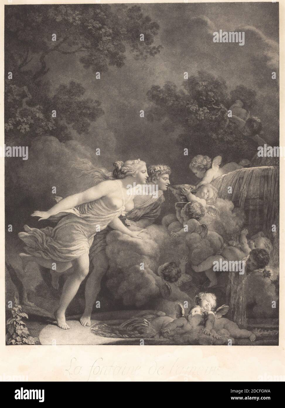 Nicolas François Regnault, (artist), French, 1746 - 1810, Jean Honoré Fragonard, (artist after), French, 1732 - 1806, La Fontaine d'Amour (The Fountain of Love), 1785, stipple etching, image: 53.4 x 42.8 cm (21 x 16 7/8 in.), plate: 64.2 x 48.2 cm (25 1/4 x 19 in Stock Photo