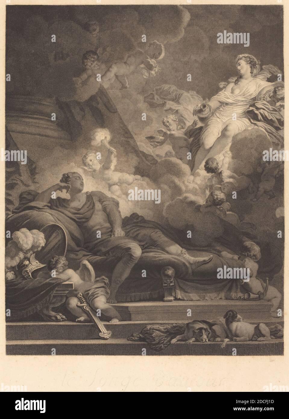 Nicolas François Regnault, (artist), French, 1746 - 1810, Jean Honoré Fragonard, (artist after), French, 1732 - 1806, Le Songe d'Amour (Love's Dream), 1785, stipple etching Stock Photo