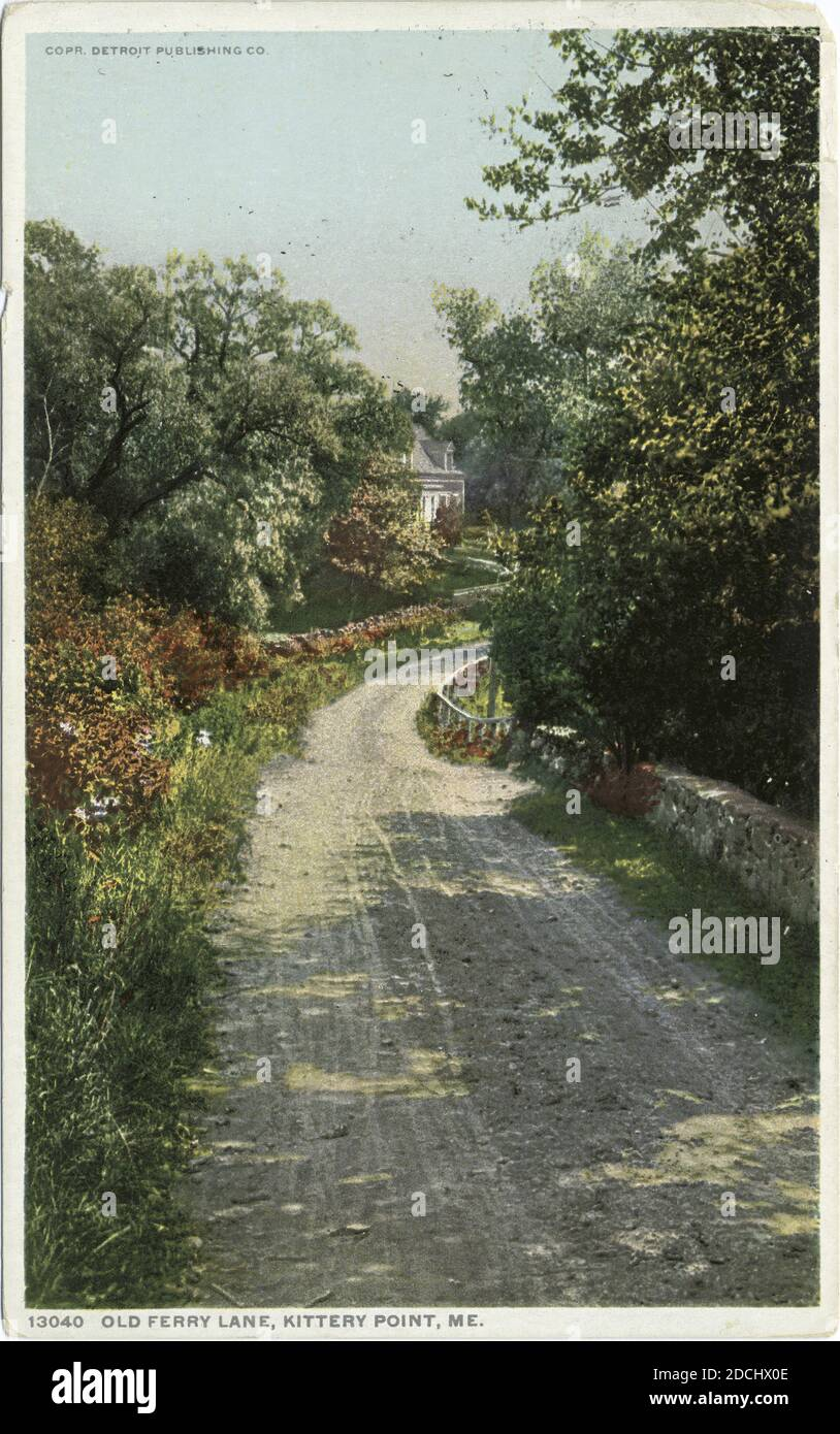 Old Ferry Lane, Kittery Point, Me., still image, Postcards, 1898 - 1931 Stock Photo