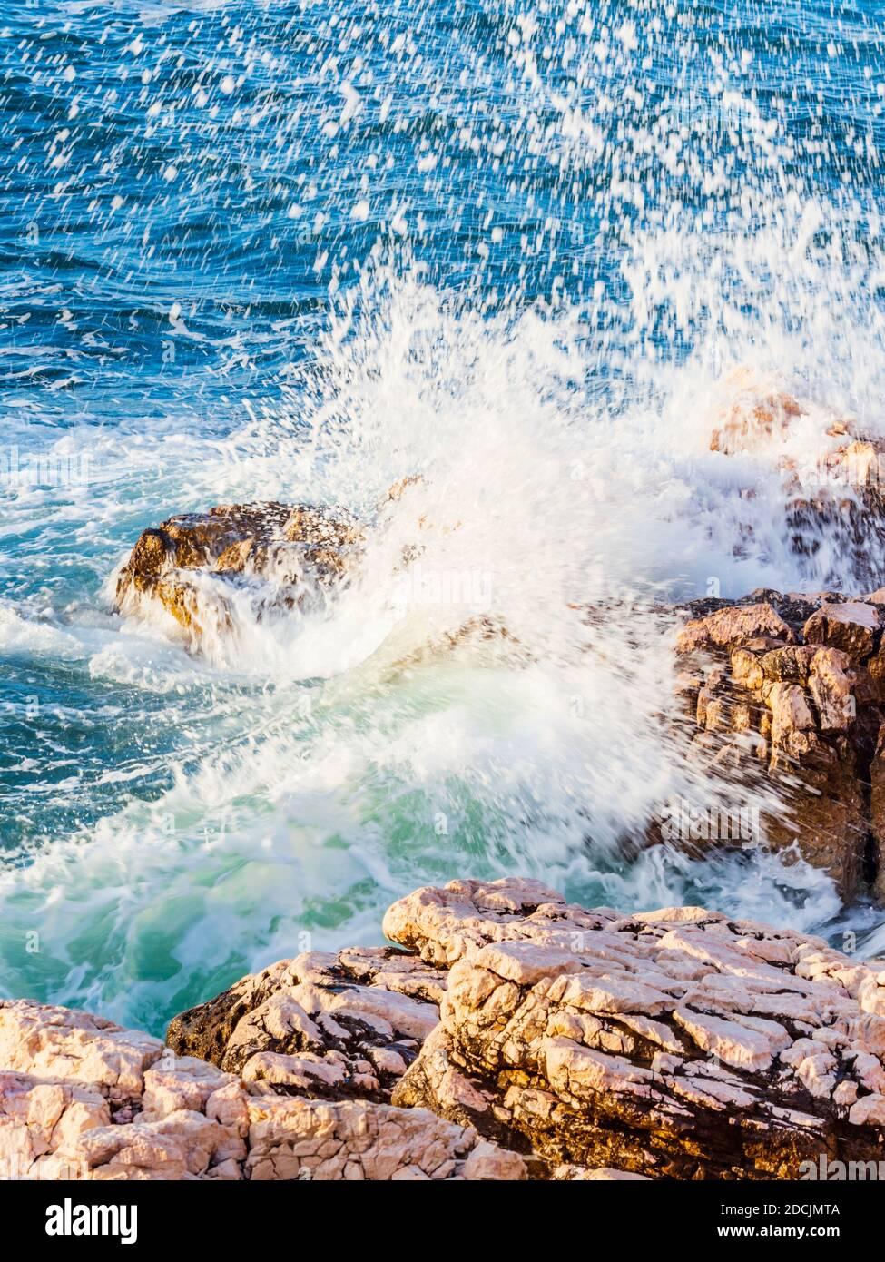 Severe windy stormy storm high sea waves Novi Vinodolski in Croatia Stock Photo