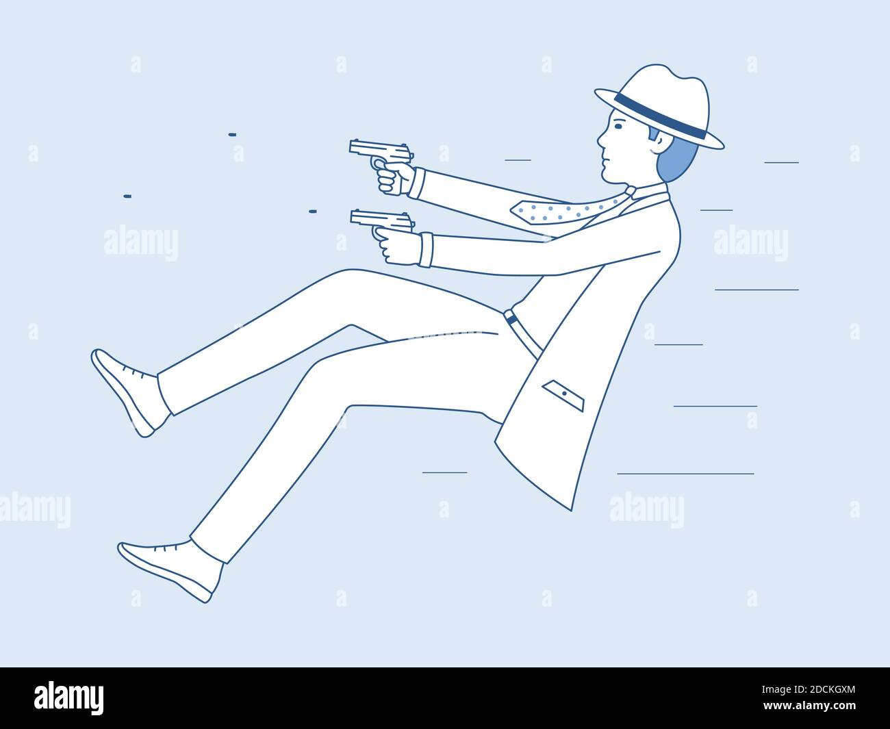 A dangerous mission of an undercover agent. Vector illustration of a man shooting with pistols. Men detective cartoon art Stock Vector