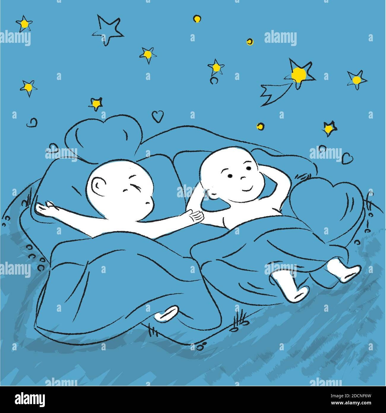 Cute Cartoon Couple Cuddles In Bed Vector Cartoon Of A Boyfriend And Girlfriend Sleeping Together Cute Chib Cartoon Illustration Doodle Style Stock Vector Image Art Alamy