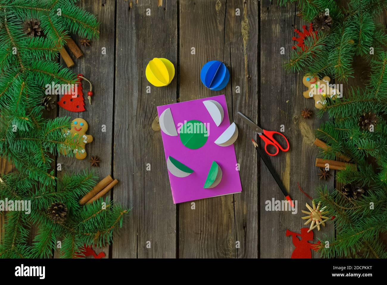 Diy Christmas And Happy New Year Greeting Card On A Wooden Table With Tree Branches Christmas Instructions Decorations Children S Creativity Stock Photo Alamy
