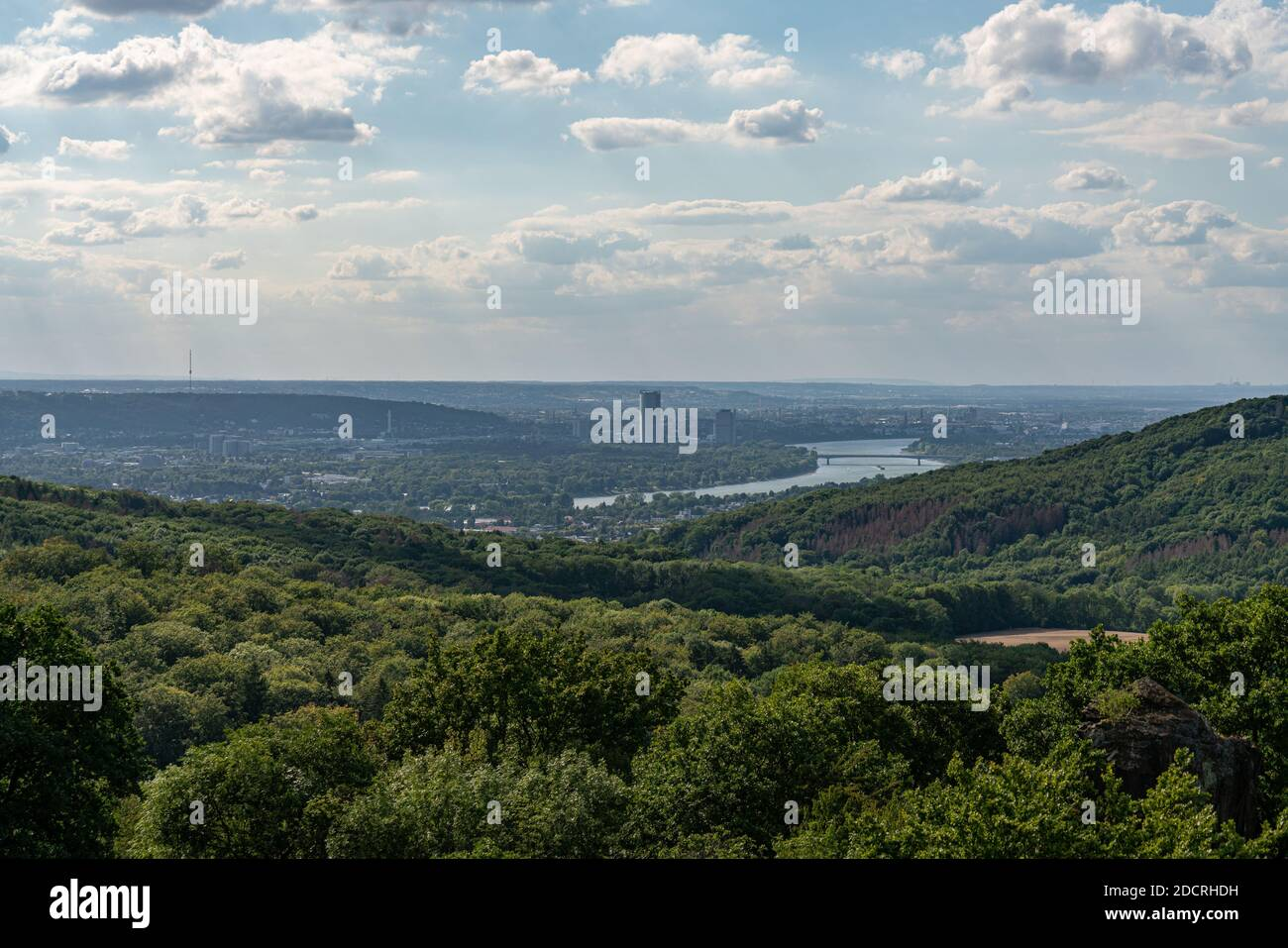 View from the top of the rock wall of the Stenzelberg over Bonn and the rhine valley far to Cologne. Stock Photo
