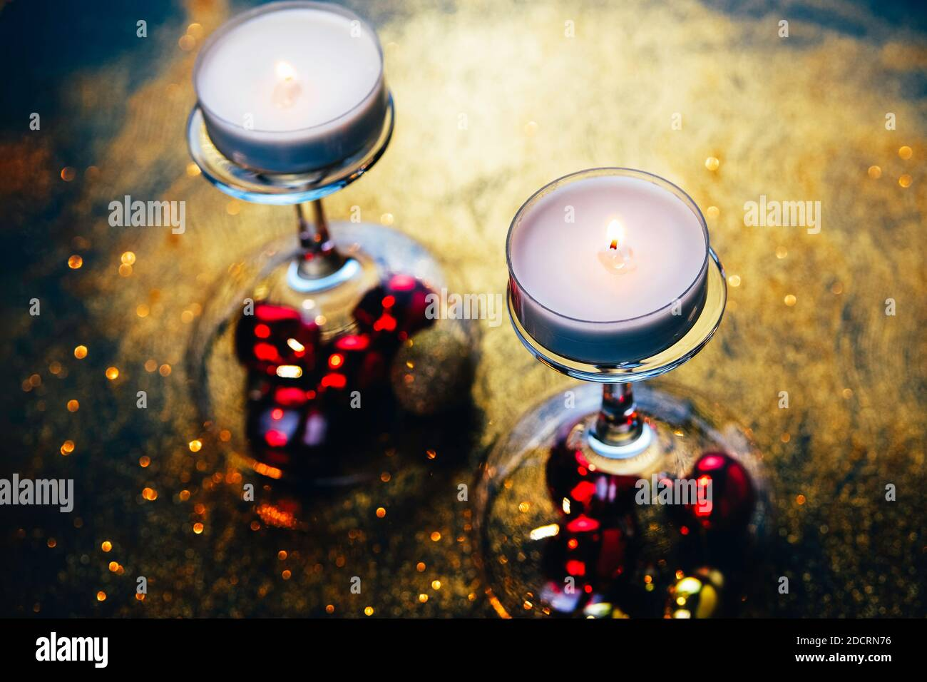 Champagne Coupe Glasses Used As Candle Holders In Christmas Or New Year Interior Design New Ideas Hints And Tips Elements Stock Photo Alamy
