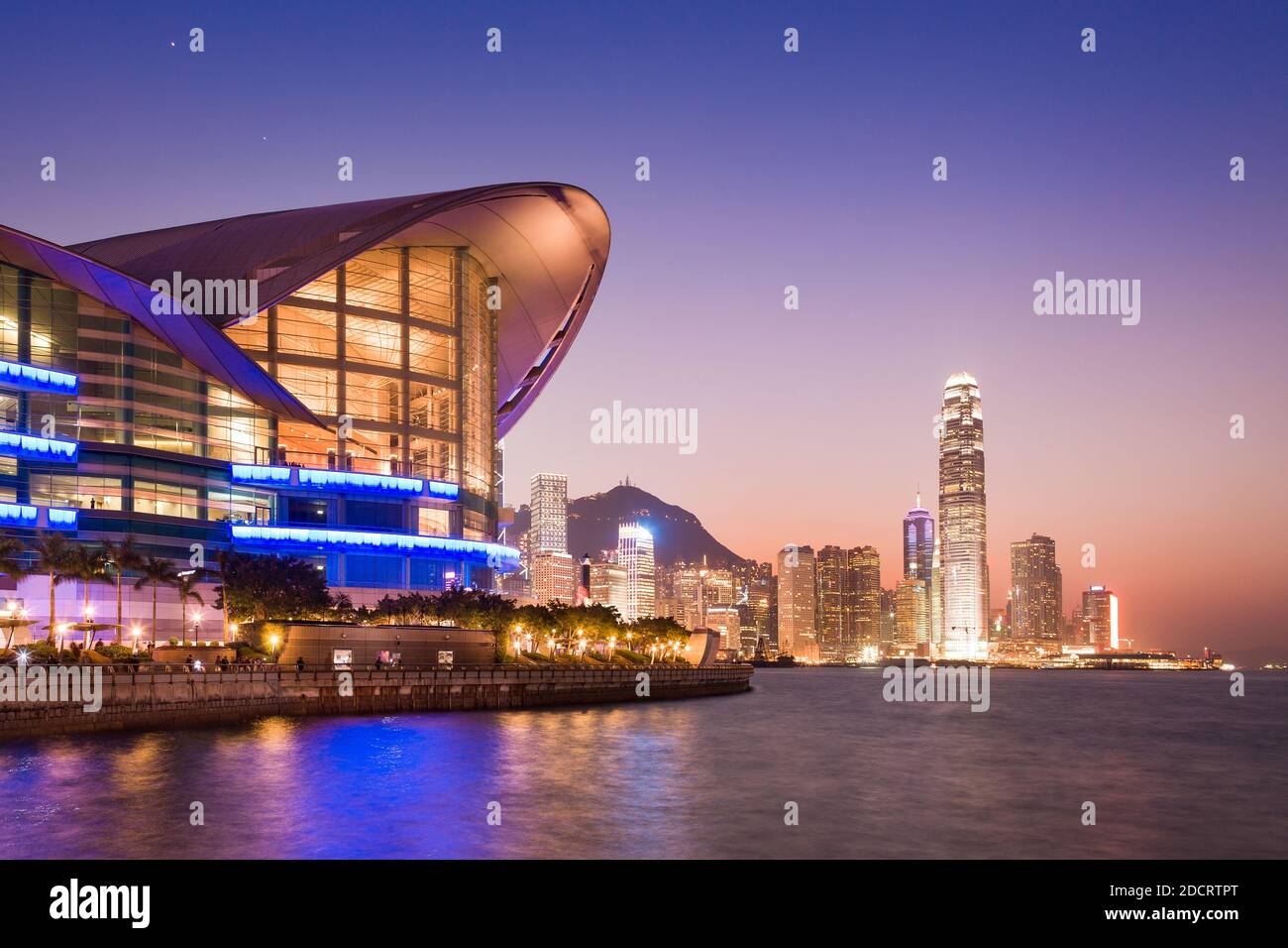 Cityscape of Hong Kong central district at night, China, Asia. Stock Photo