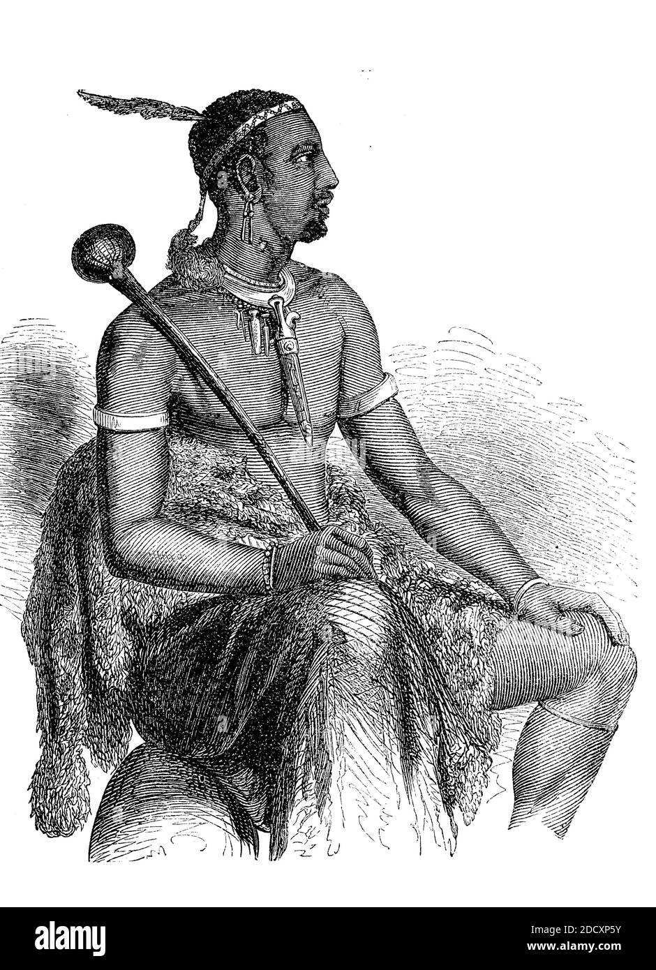Moshesh, chief of the Bassuto Indians from South Africa, Lesotho, 1880  /  Moschesch, Häuptling der Bassuto Indianer aus Südafrika, Lesotho, 1880, Historisch, historical, digital improved reproduction of an original from the 19th century / digitale Reproduktion einer Originalvorlage aus dem 19. Jahrhundert, Stock Photo