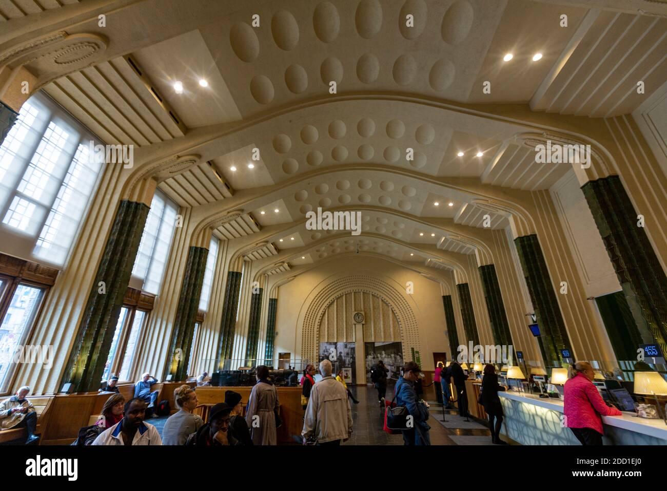 Interior of Helsinki Central Station, Helsinki, Finland Stock Photo