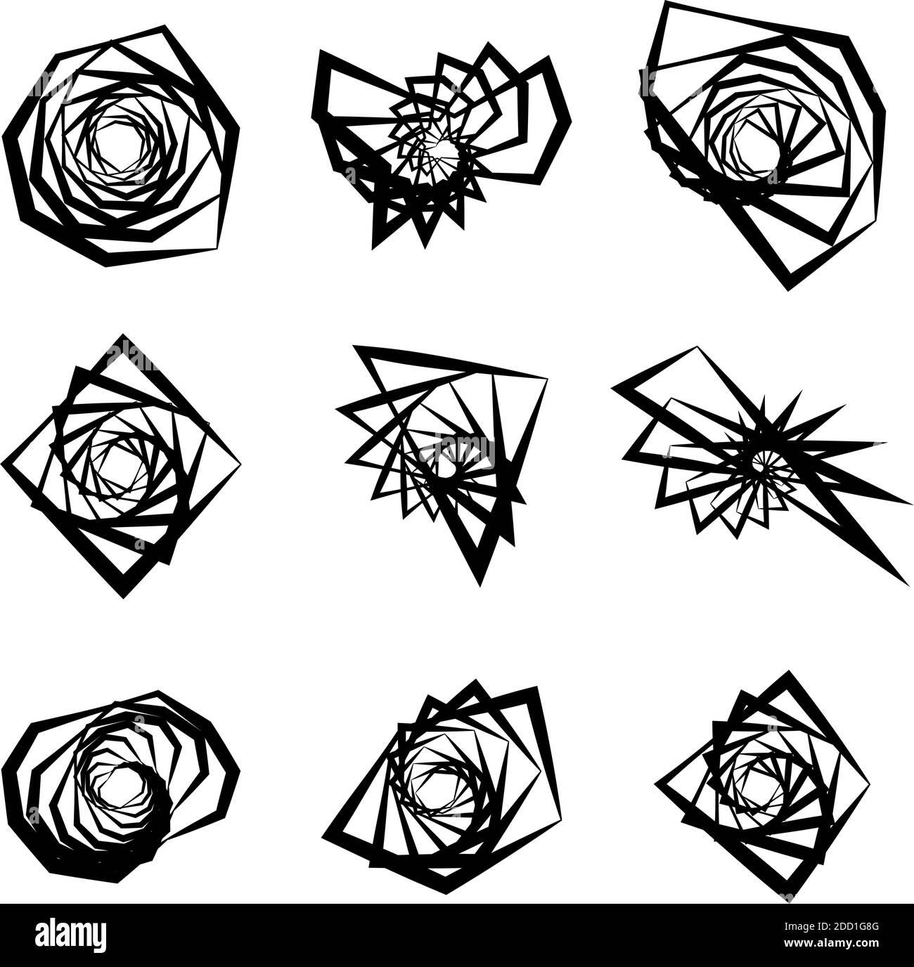 Spiral, swirl, twirl element set. Abstract vector – Stock vector illustration, Clip art graphics Stock Vector