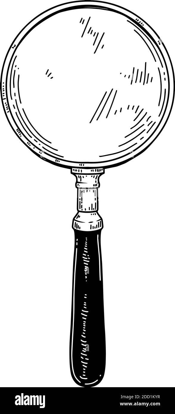 Illustration of magnifier in vintage engraving style. Design element for logo, emblem, sign, poster, card, banner. Vector illustration Stock Vector