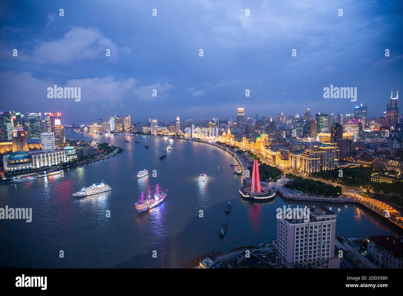 Shanghai urban construction scenery at night Stock Photo