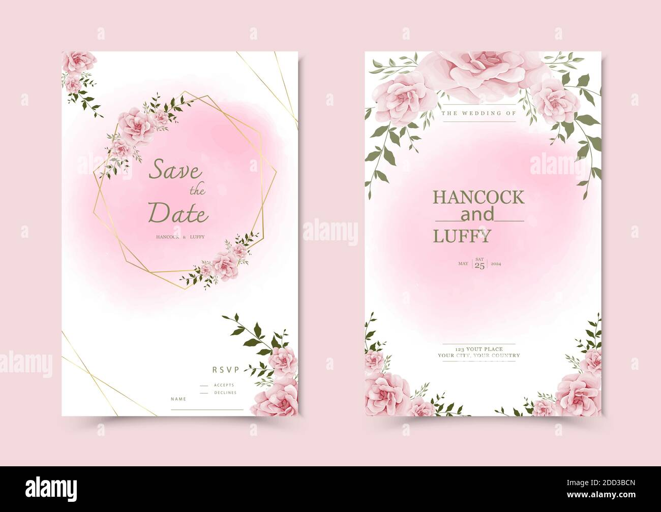 Beautiful Background With Watercolor Floral Wedding Invitation Card Template Stock Vector Image Art Alamy