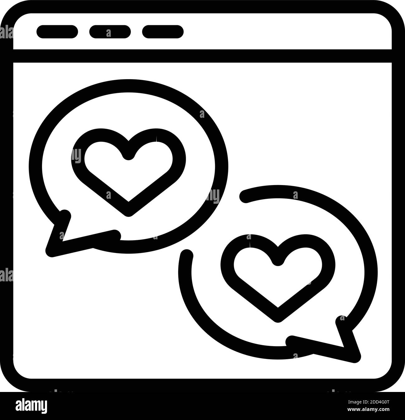 Web love chat icon. Outline web love chat vector icon for web design isolated on white background Stock Vector