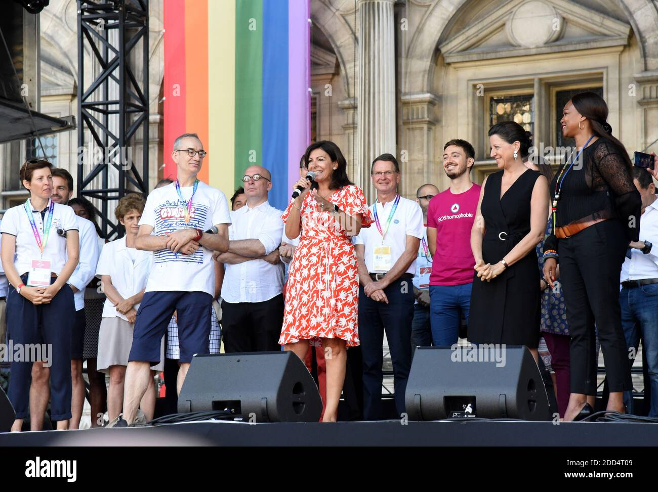 Paris' Mayor Anne Hidalgo, French Minister for Solidarity and Health Agnes Buzyn and French Sports Minister Laura Flessel during the inauguration of the sport village of the 2018 Gay Games' edition, on the Parvis de l'Hotel de Ville, in Paris, on August 4, 2018, on the sidelines of the opening of the Gay Games. French capital, Paris, hosts the Gay Games from August 4, 2018 to August 12, 2018 bringing together participants from around the world for a week of sport and culture in a carnival atmosphere. Six years before hosting the 2024 Olympic Games, Paris will welcome more than 10,000 participa Stock Photo