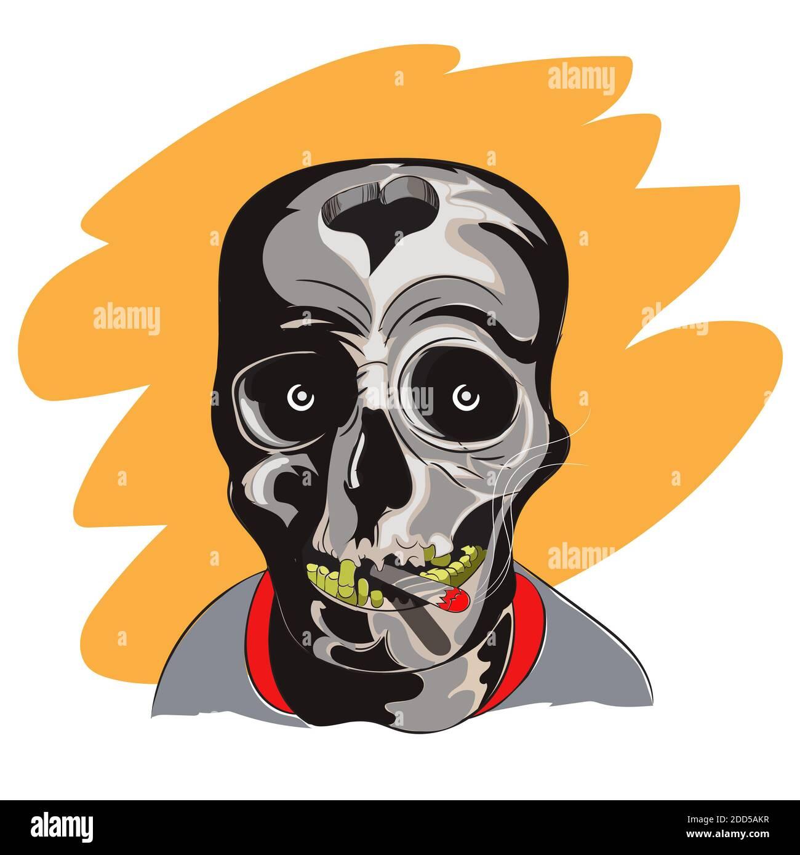 Smoking Skull T shirt design. Vector Illustrator. Stock Photo