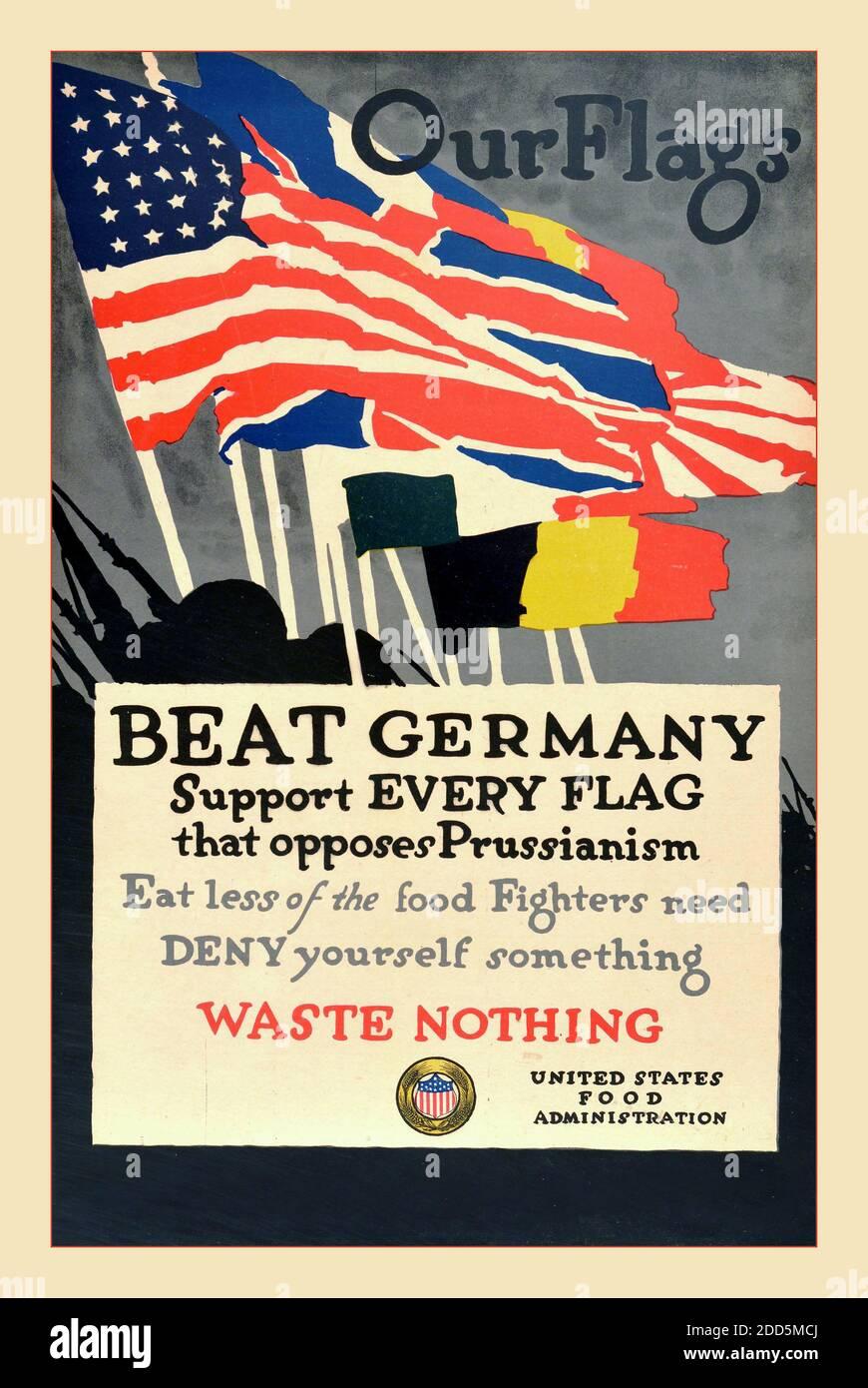 SET of 4 US Food Administration Vintage World War KITCHEN ART PRINTS circa 1917