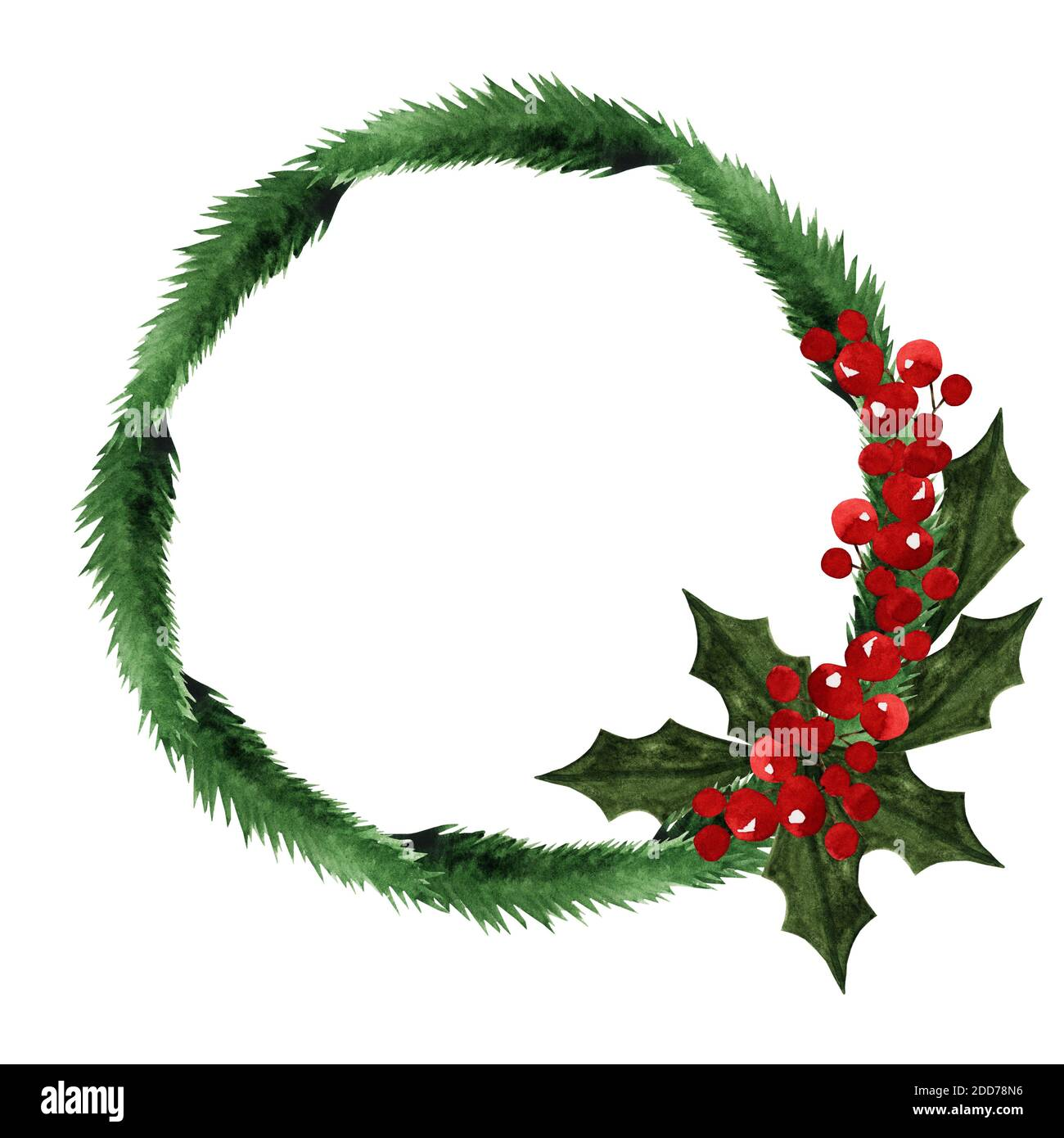 Beautiful Drawing Of Christmas Wreath Close Up No People Watercolor Paint View From Above Congratulations For Family Relatives Friends And Coll Stock Photo Alamy