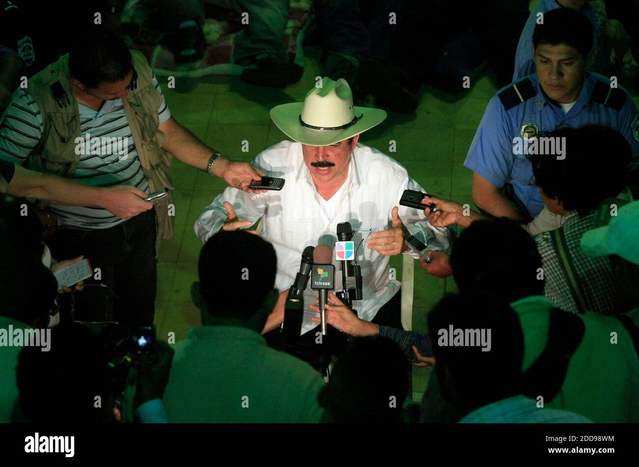 NO FILM, NO VIDEO, NO TV, NO DOCUMENTARY - Ousted President Manuel Zelaya talks to reporters during a visit to his supporters at El Polideportivo sports center in the town of Ocotal in Nicaragua, on July 27, 2009. Photo by Pedro Portal/El Nuevo Herald/MCT/ABACAPRESS.COM Stock Photo