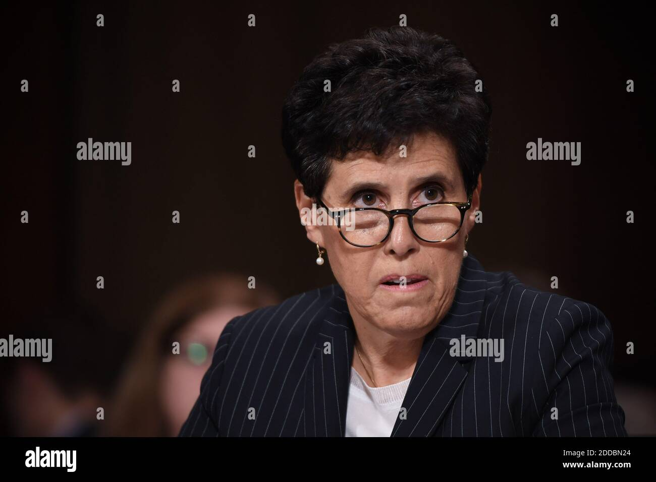 Christine Blasey Ford's attorney, Debra S Katz, is seen during his US Senate Judiciary Committee confirmation hearing on Capitol Hill in Washington, DC, September 27, 2018. Photo by Saul Loeb/Pool/ABACAPRESS.COM Stock Photo