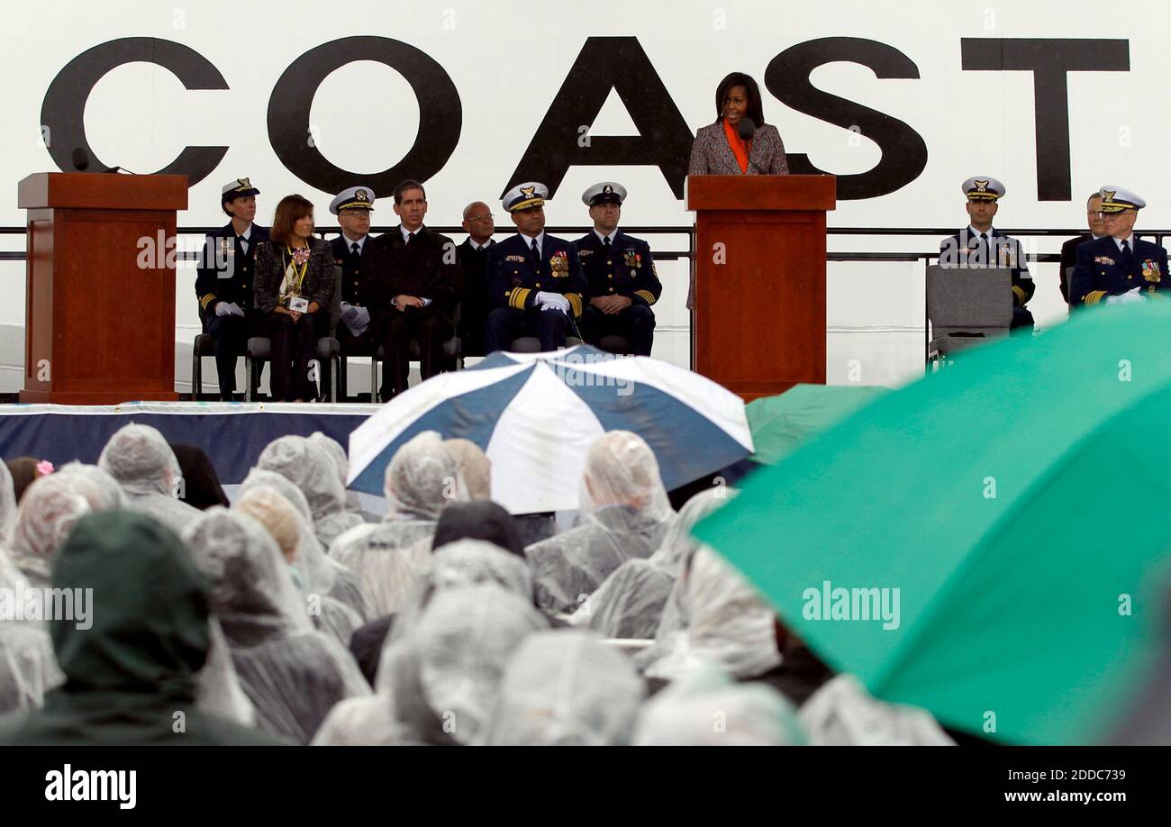 NO FILM, NO VIDEO, NO TV, NO DOCUMENTARY - First lady Michelle Obama speaks during a ceremony for the Coast Guard Cutter Stratton on Coast Guard Island in Alameda, CA, USA ON March 31, 2012. The first lady made the trip to California to join in the commissioning ceremony placing the ship into active service. Photo by Anda Chu/Oakland Tribune/MCT/ABACAPRESS.COM Stock Photo