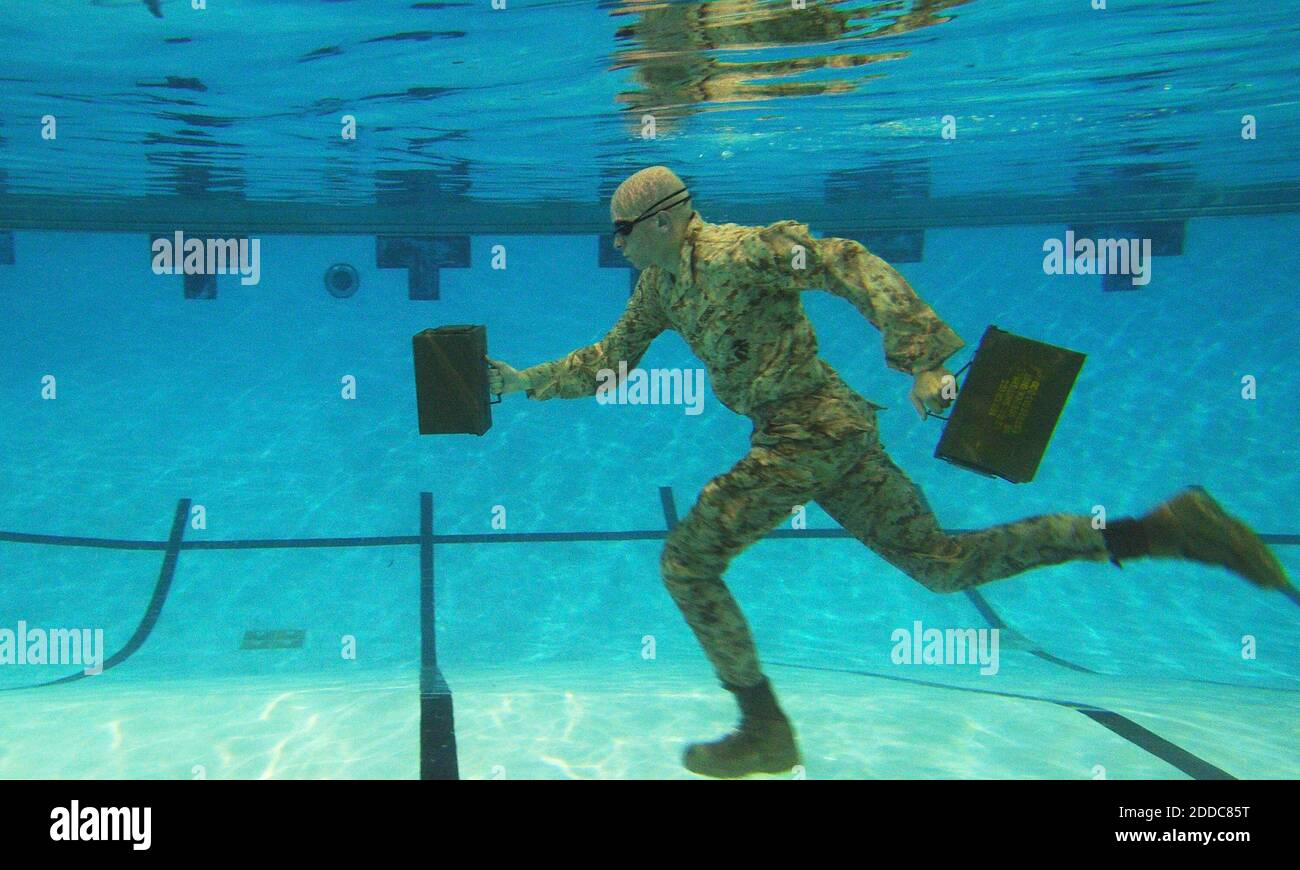 NO FILM, NO VIDEO, NO TV, NO DOCUMENTARY - U.S. Marine Corps Lance Cpl. Reagan Lodge, Headquarters and Service Battalion, Marine Corps Base Quantico, conducts water running exercises during a phyiscal training session in Ramer Hall, The Basic School, on Marine Corps Base Quantico, Virginia, September 14, 2011. This photo received second place, sports in the 2011 Military Photographer of the Year photo competition. Photo bySharon D. Kyle/US Marines Corps/MCT/ABACAPRESS.COM Stock Photo