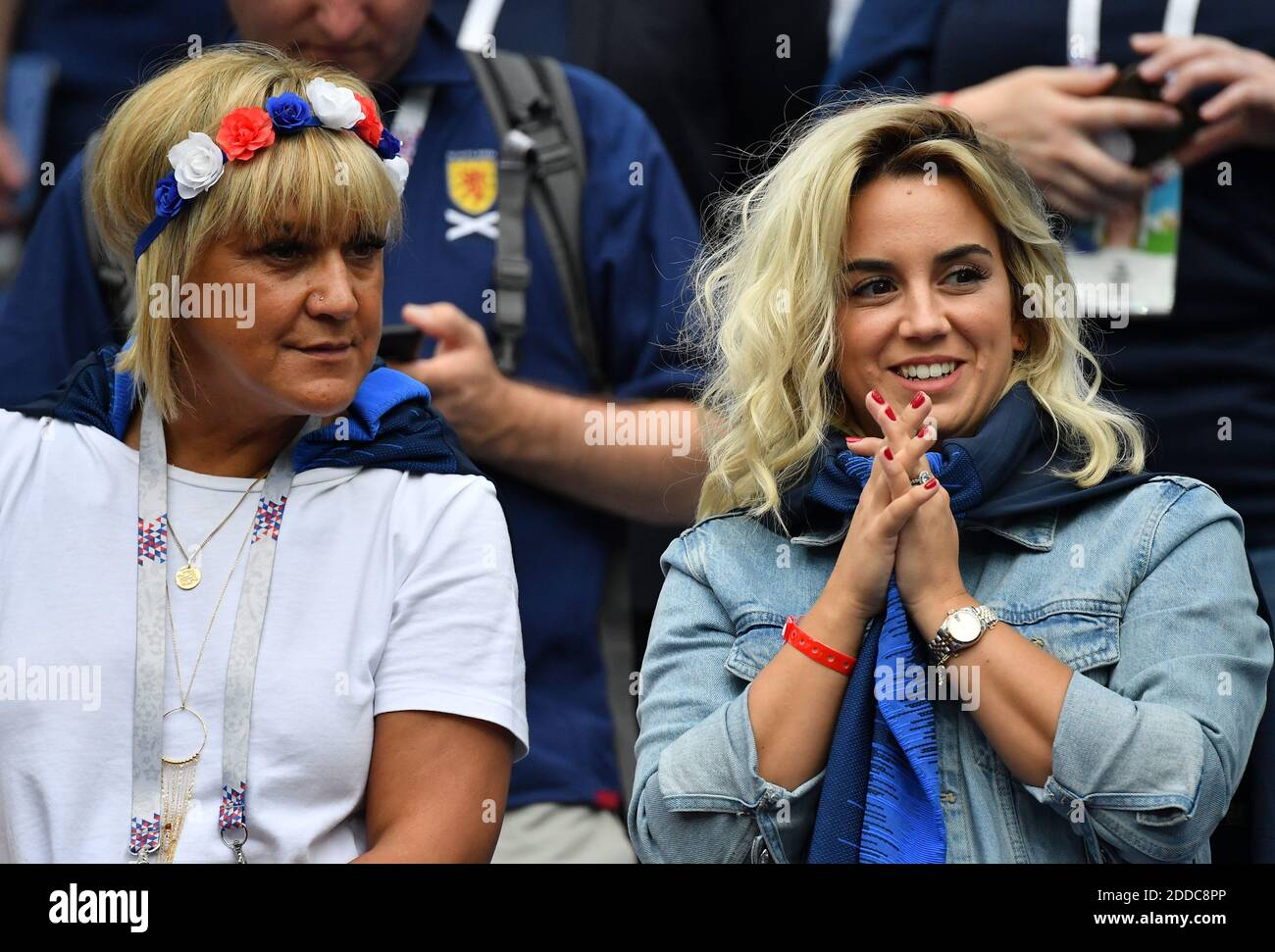 Antoine Griezmann S Wife Erika Choperena With Isabelle Mother Of Antoine Griezmann During The Fifa World Cup 2018 Round Of 8 Match At The Nizhny Novgorod Stadium Russia On July 6 2018