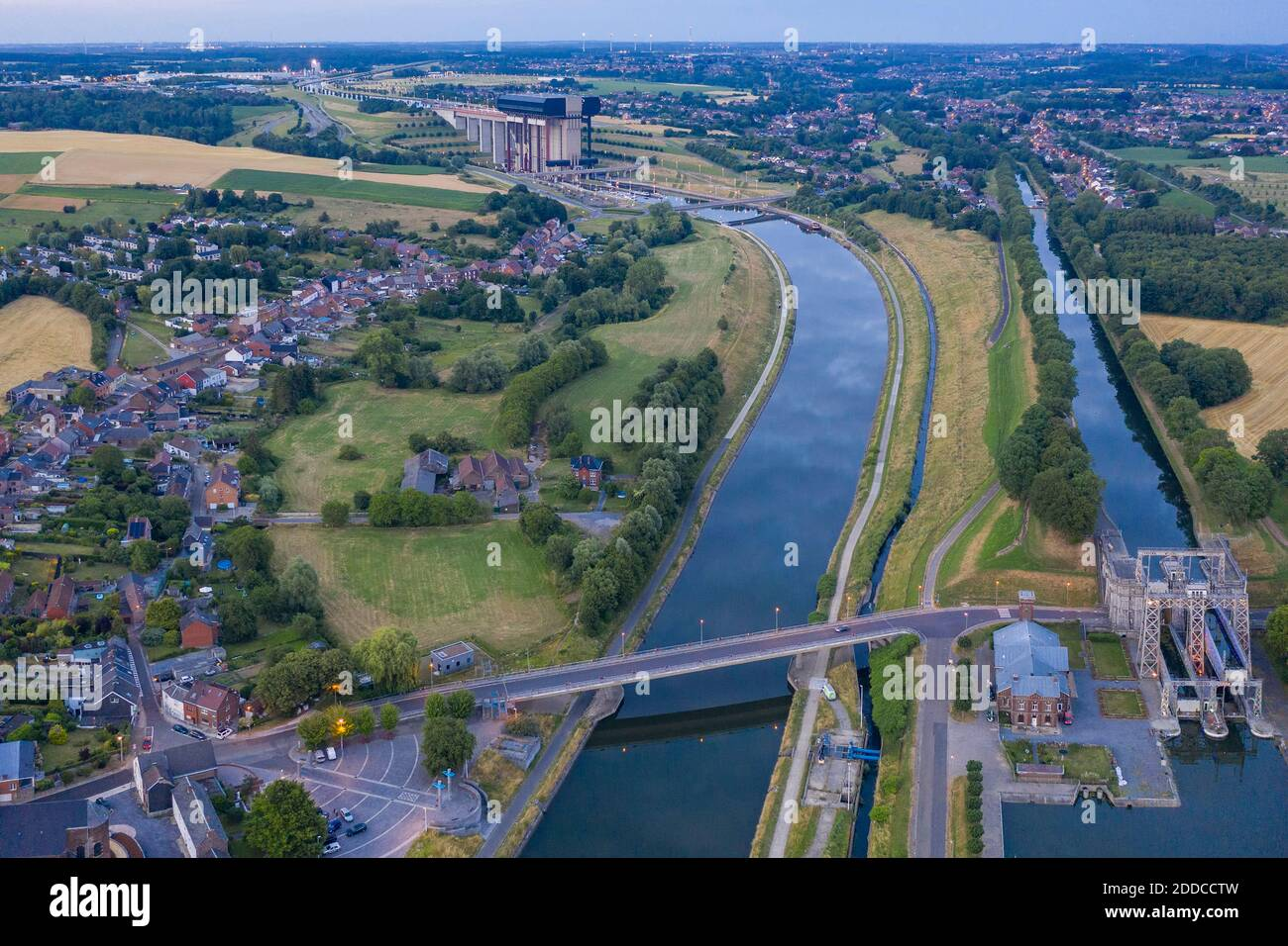 Belgium, Hainaut Province, Aerial view of historical boat lift on Canal du Centre with Strepy-Thieu lift in background Stock Photo