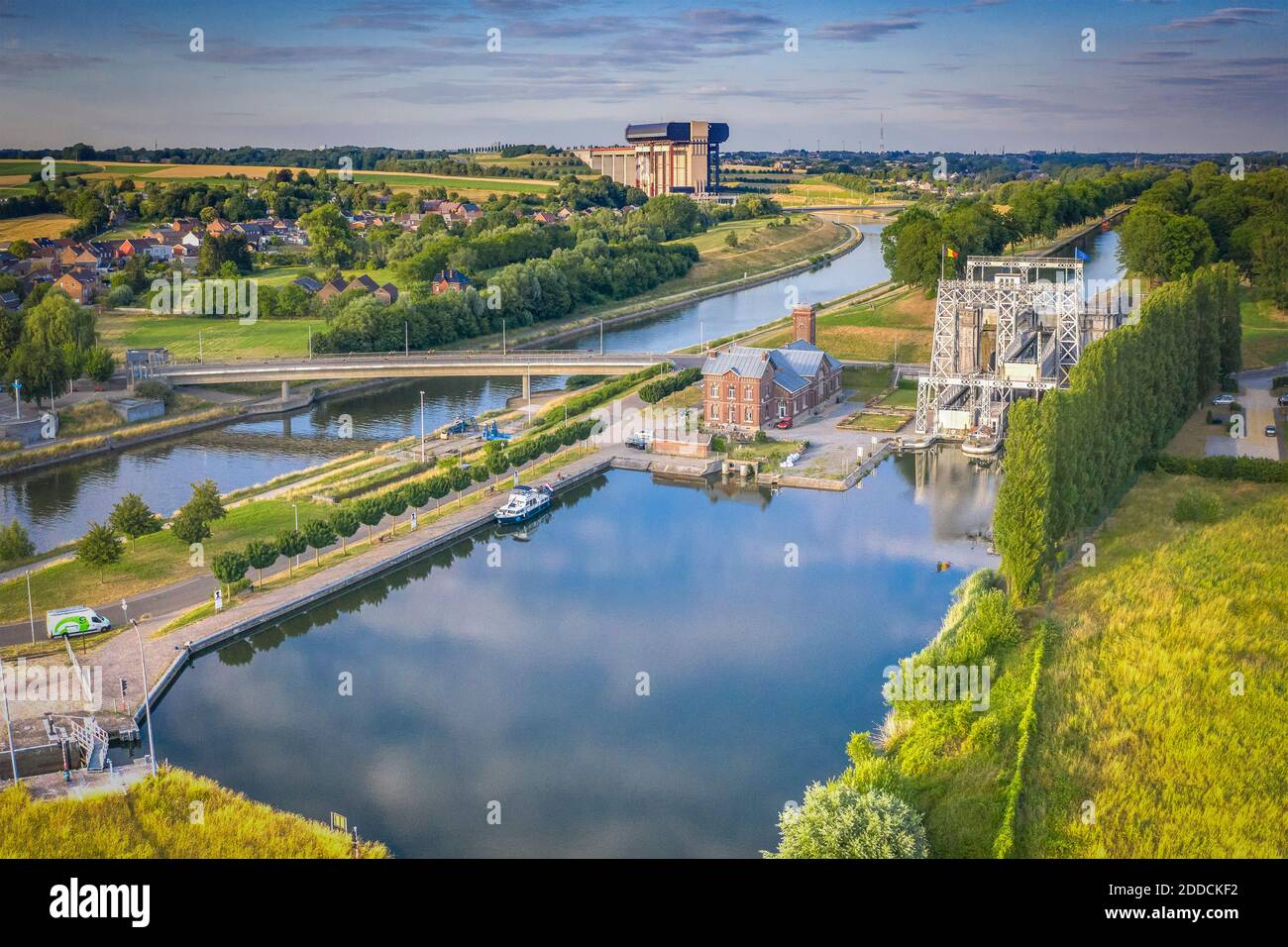 Belgium,HainautProvince, Aerial view of historical boat lift on CanalduCentre withStrepy-Thieulift in background Stock Photo