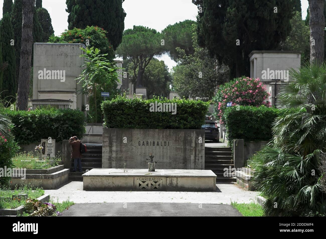 Roma, Rom, Italy, Italien; Cimitero del Verano; Campo Verano; Garibaldi family tomb. Garibaldi Familiengrab. 加里波第家族墓。Grób rodziny Garibaldi. Stock Photo