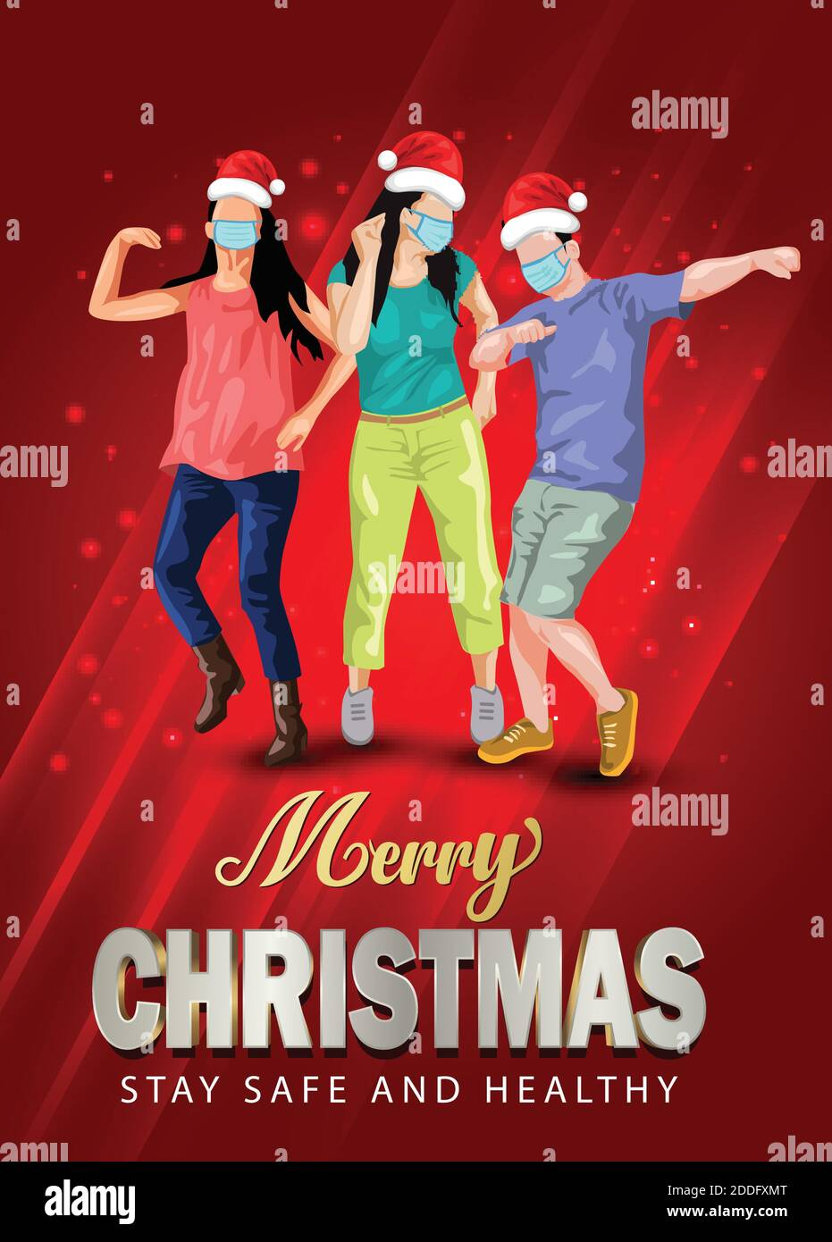 Merry Christmas Dance Night Party Flyer Design With Group Of People Dancing With Santa Hand And Wearing Surgical Mask Coronavirus Covid 19 Concept Stock Vector Image Art Alamy