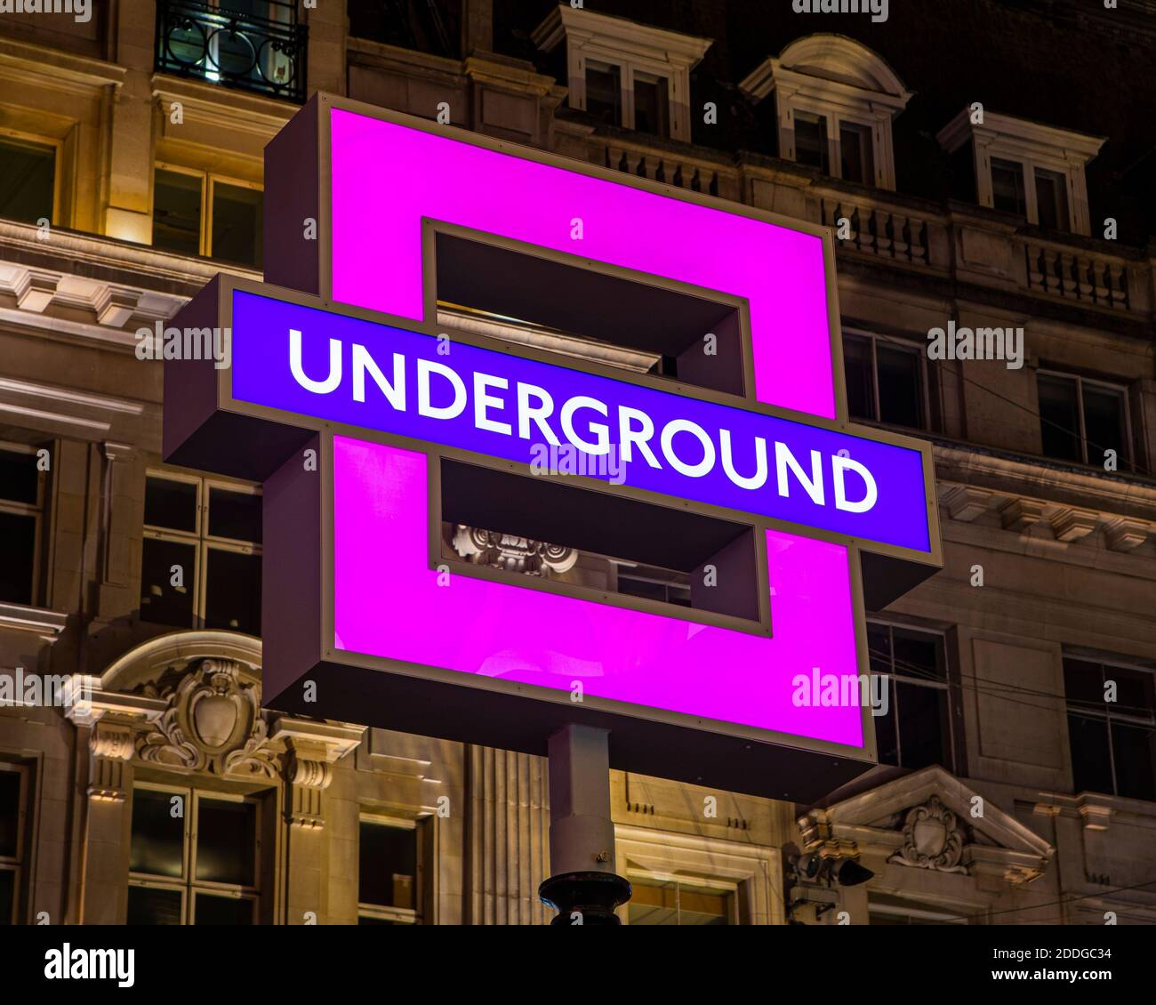 London, UK - November 22nd 2020: London Underground sign at Oxford Circus Station - changed to the square PlayStation controller symbol to promote the Stock Photo