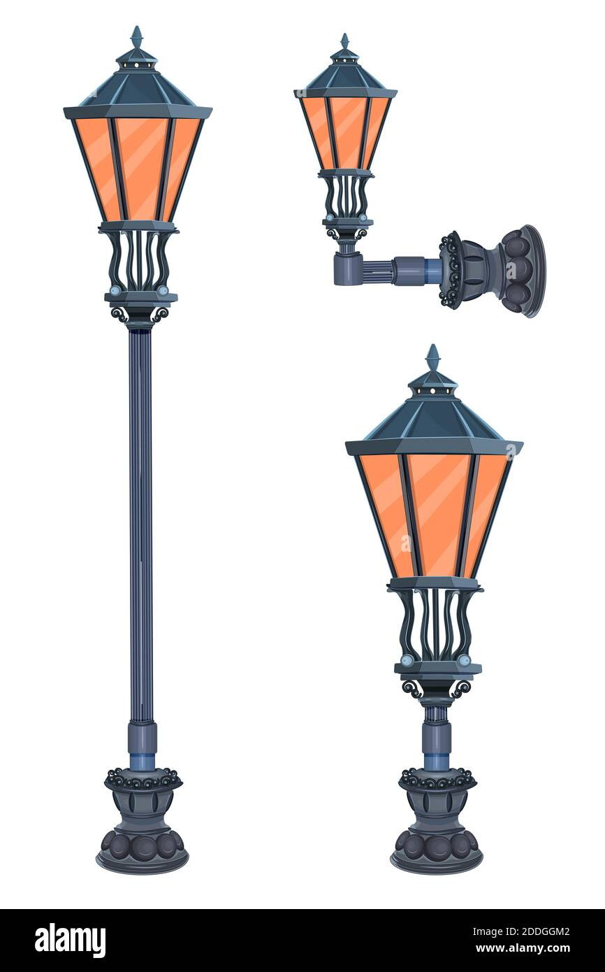 Street lamps set isolated. Collection of city victorian light. Road old ancient lantern.Retro vintage lamp post with electricity lantern.Stock vector Stock Vector