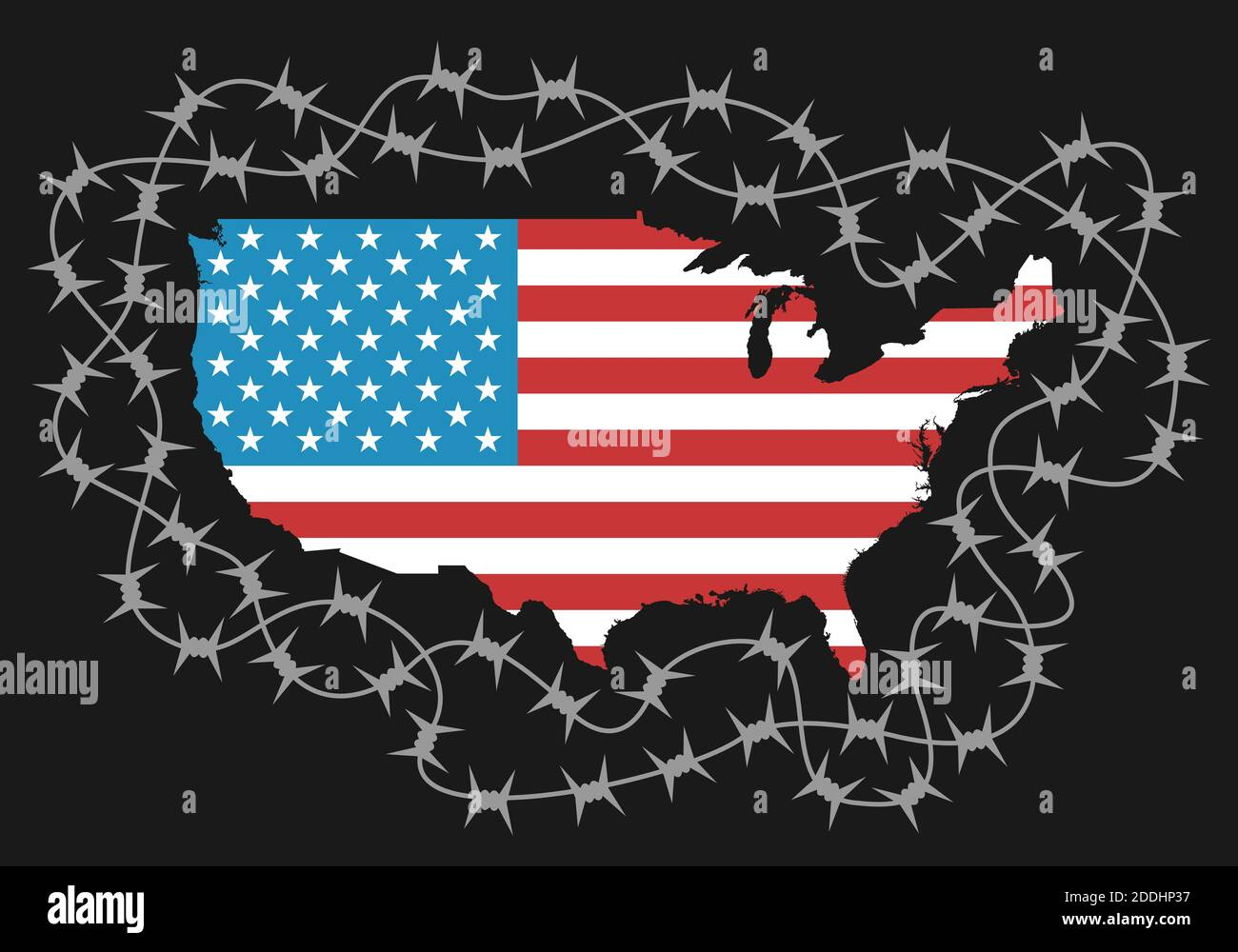 Territory of USA as protected area by barbed wire - american policy of isolationism, ban to enter and protection of borders. Vector illustration with Stock Photo