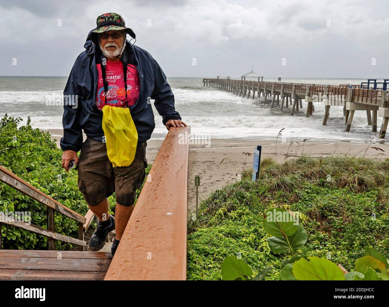 NO FILM, NO VIDEO, NO TV, NO DOCUMENTARY - A Beach goer climb the stairs near the Juna Beach Pier as Hurricane Dorian crawls toward Florida while the Category 4 storm continues to ravage the Bahamas on Monday, September 2, 2019. Photo by Carl Juste/Miami Herald/TNS/ABACAPRESS.COM Stock Photo