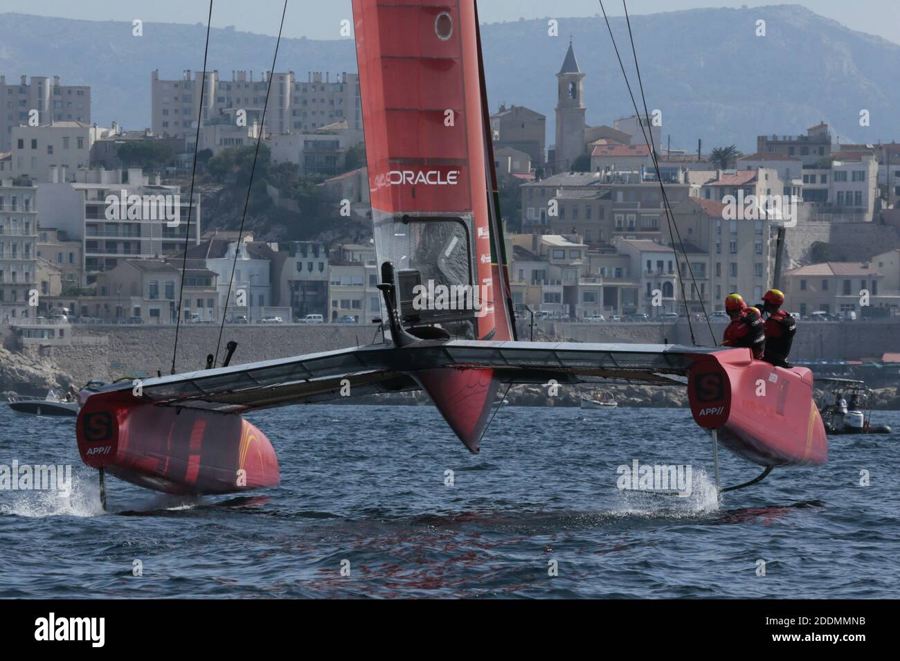 The SailGP F50 catamaran in racing during SailGP final in Marseille, France on September 19, 2019. SailGP is racing takes place in some of the most iconic harbors around the globe and culminates with a $1 million winner-takes-all match race. Rival national teams battle it out in identical supercharged F50 catamarans, engineered for intense racing at electrifying speeds exceeding 50 knots (nearly 60 mph/100 kph) and Marseille is the final event. Photo by Patrick Aventurier/ABACAPRESS.COM Stock Photo