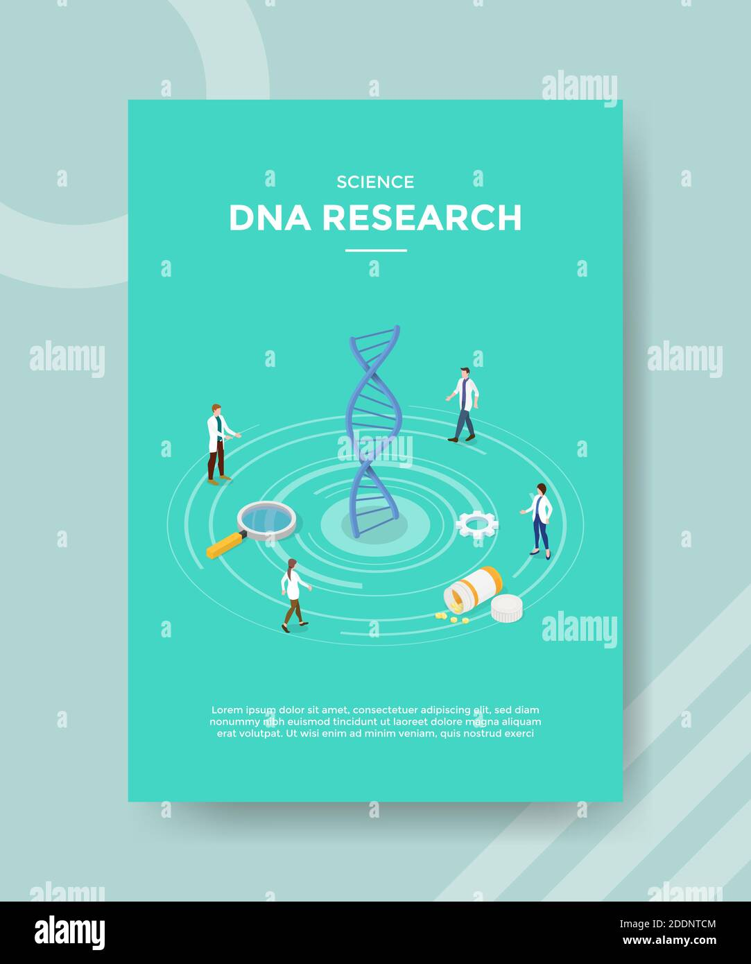science dna research people scientist standing around spiral genome drug lupe for template flyer and print banner cover book books modern flat style Stock Vector