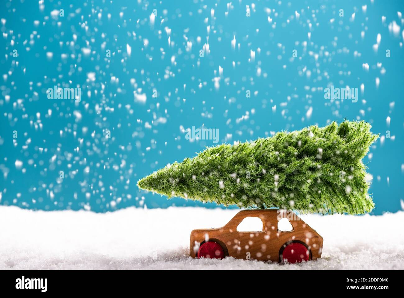 Colorful Christmas Greeting Card Vintage Wooden Toy Car Carry Christmas Tree Stock Photo Alamy