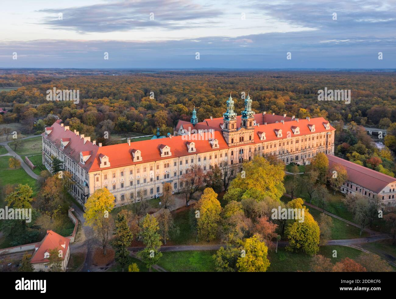 Lubiaz, Poland. Aerial view of historic Cistercian abbey (largest in the world) Stock Photo