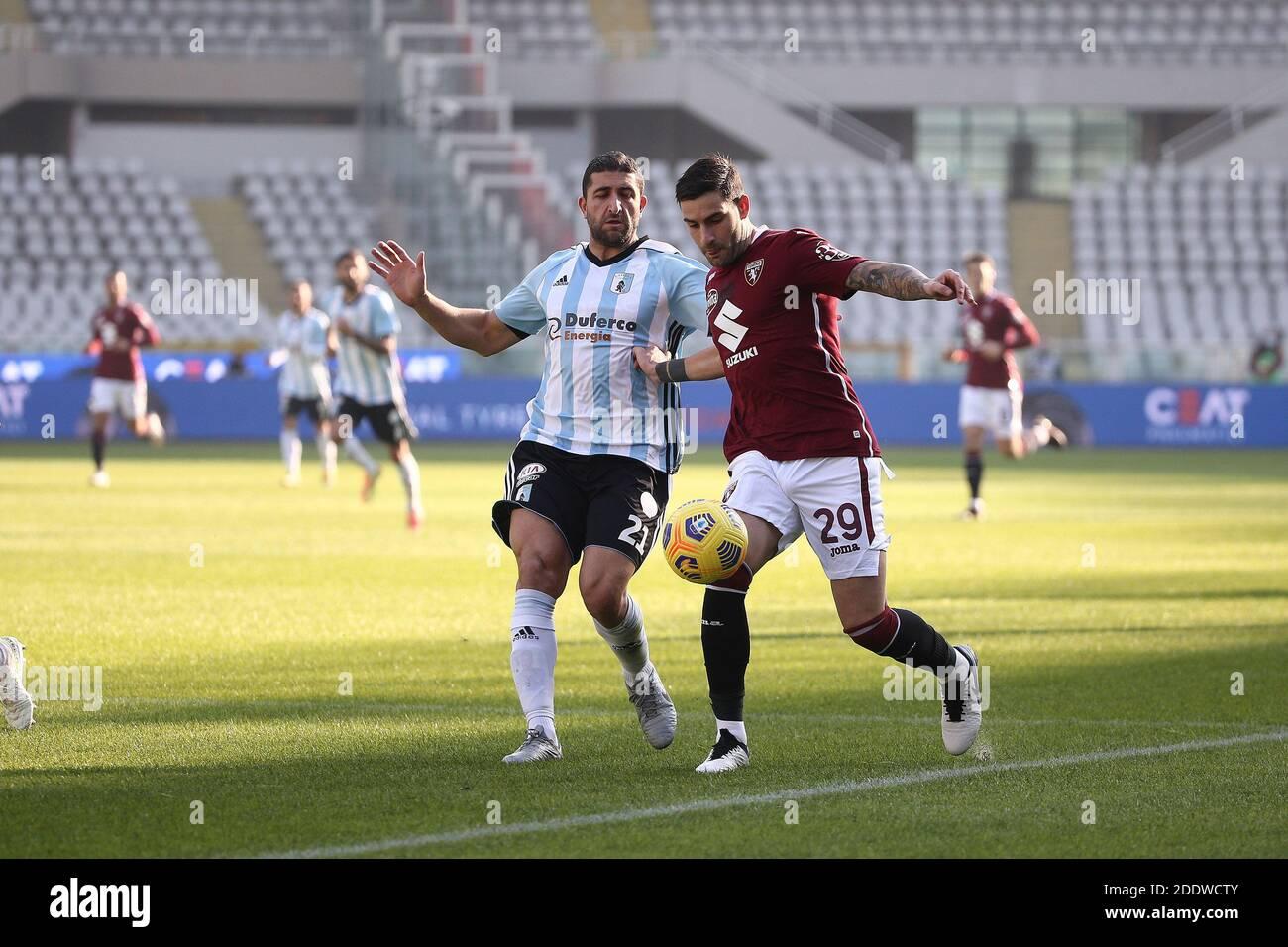 ITALIAN CUP 4th round, TURIN vs VIRTUS ENTELLA: MURRU vs COPPOLARO Stock Photo