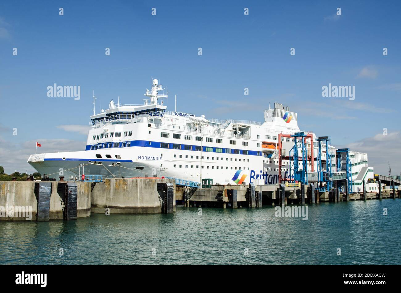 Portsmouth, UK - September 8, 2020: Side view of the large passenger ferry Normandie run by Brittany Ferries moored in Portsmouth Harbour on a sunny s Stock Photo