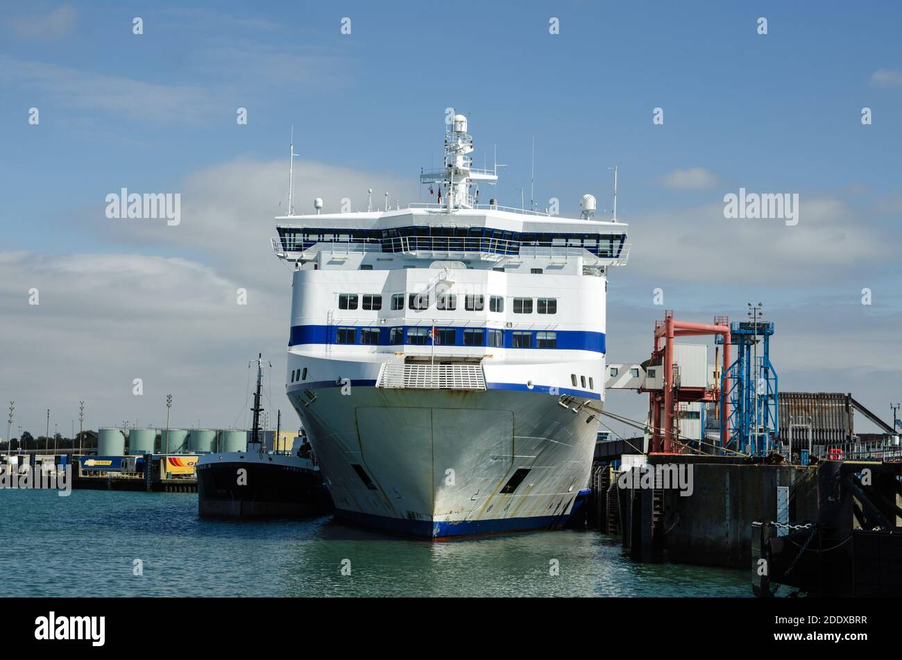 Portsmouth, UK - September 8, 2020:  Head on view of the prow of Normandie a cross channel passenger ferry operated by Brittany Ferries and moored at Stock Photo